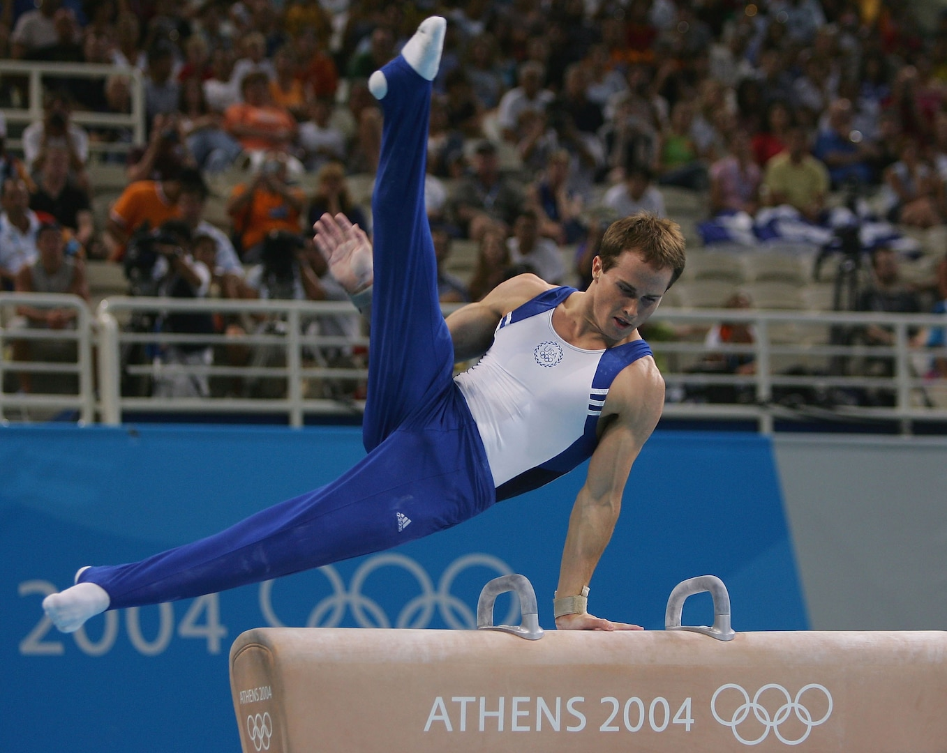 Paul Hamm competes during the pommel horse final during the Athens 2004 Summer Olympic Games.