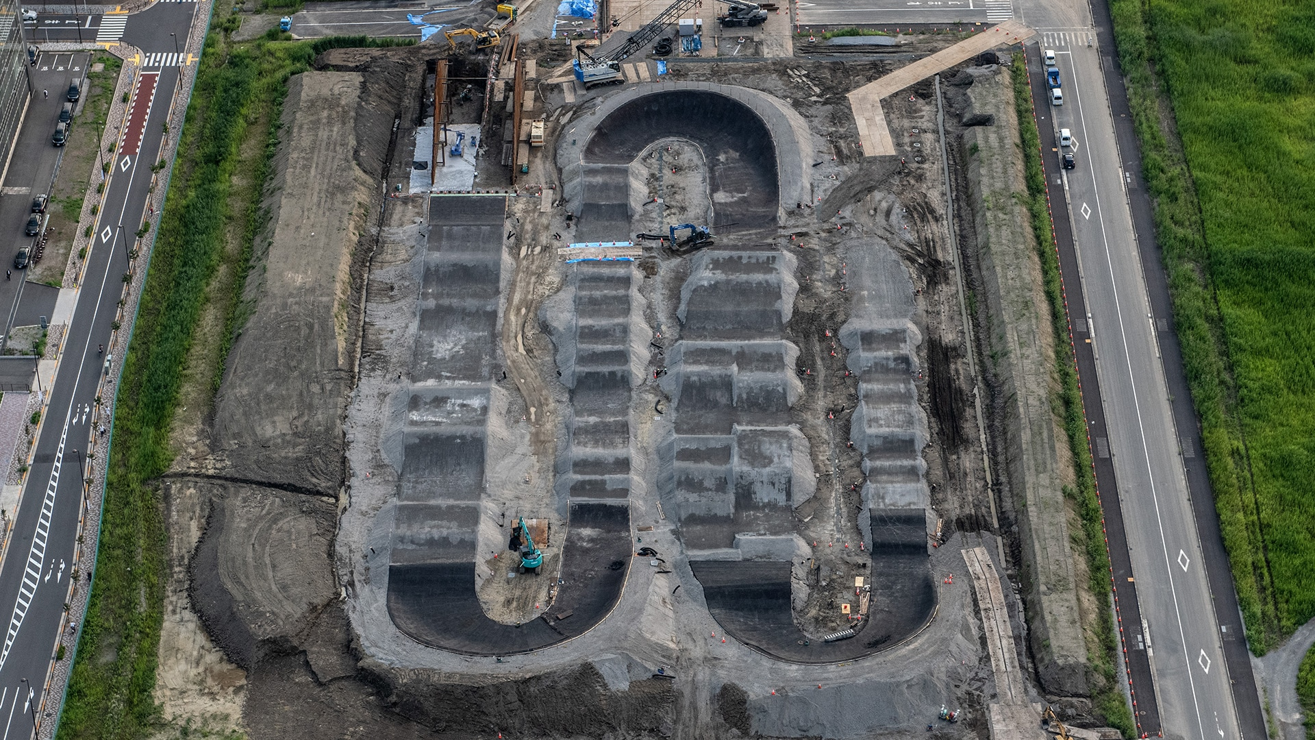 The BMX track which will form part of Ariake Urban Sports Park for the Tokyo Olympics is pictured in 2019
