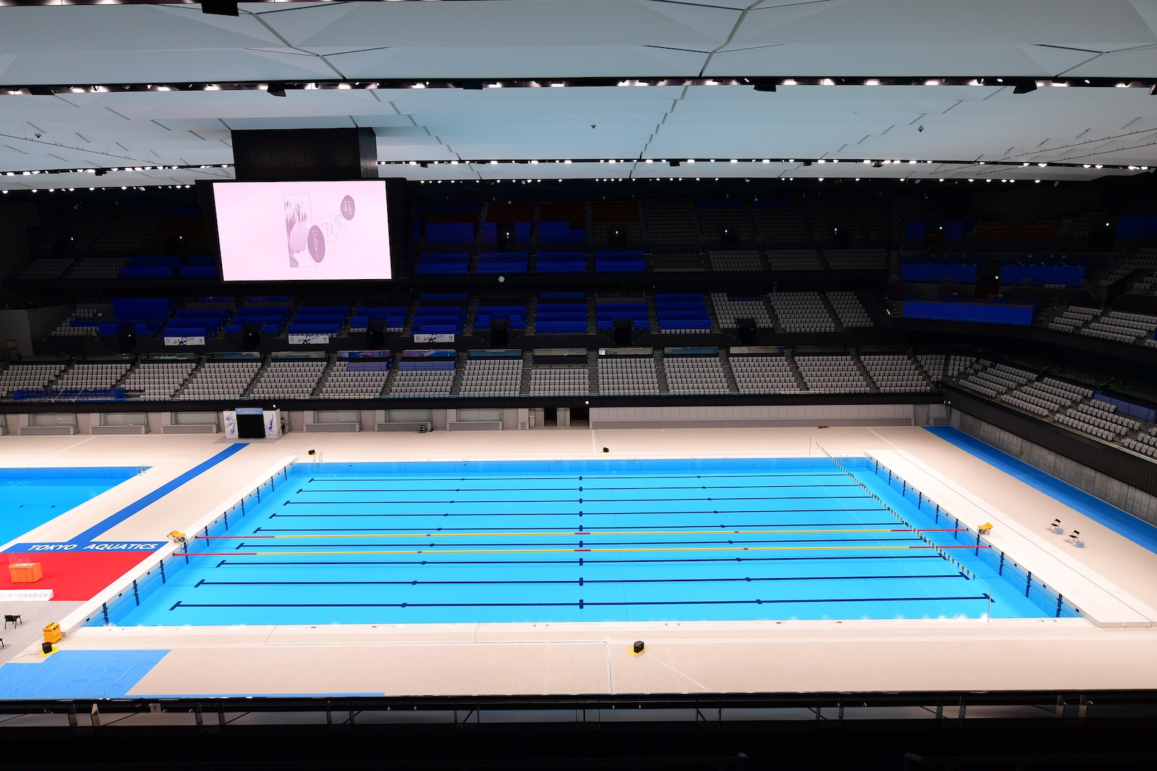 A birds-eye view of the swimming pool inside the new Tokyo Aquatics Center.