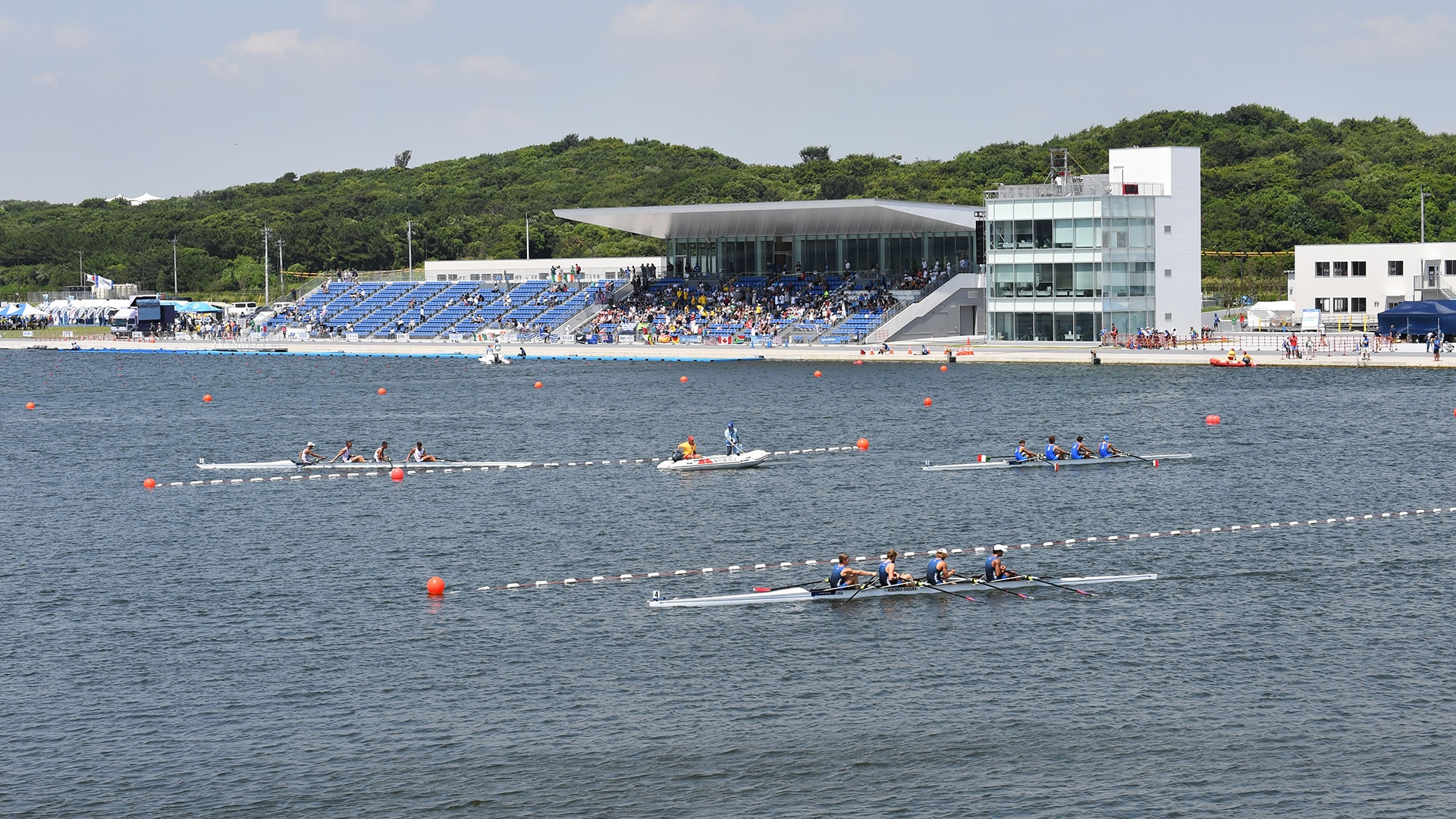 General view of the Sea Forest Waterway at the Tokyo 2020 rowing test event in 2019