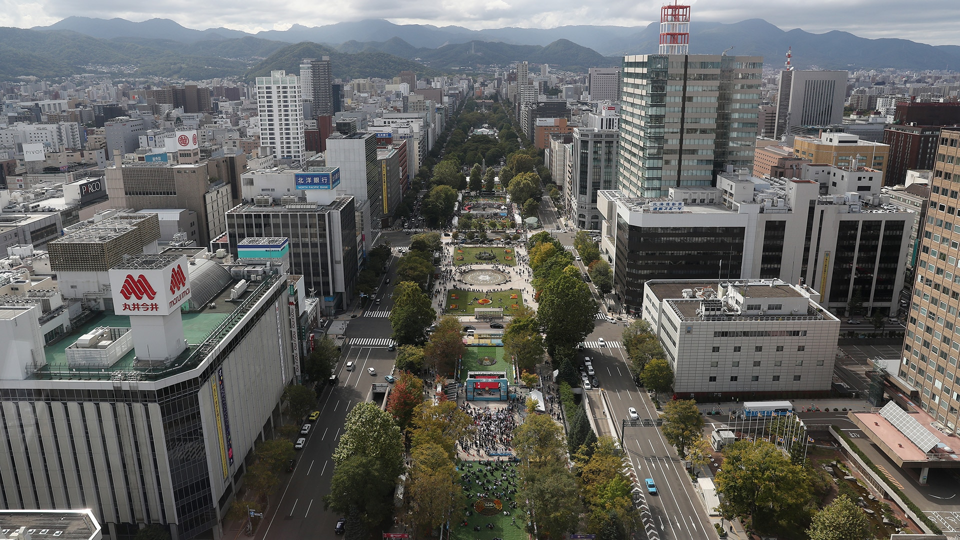 View of Odori Park Sapporo from the Sapporo TV Tower in Japan