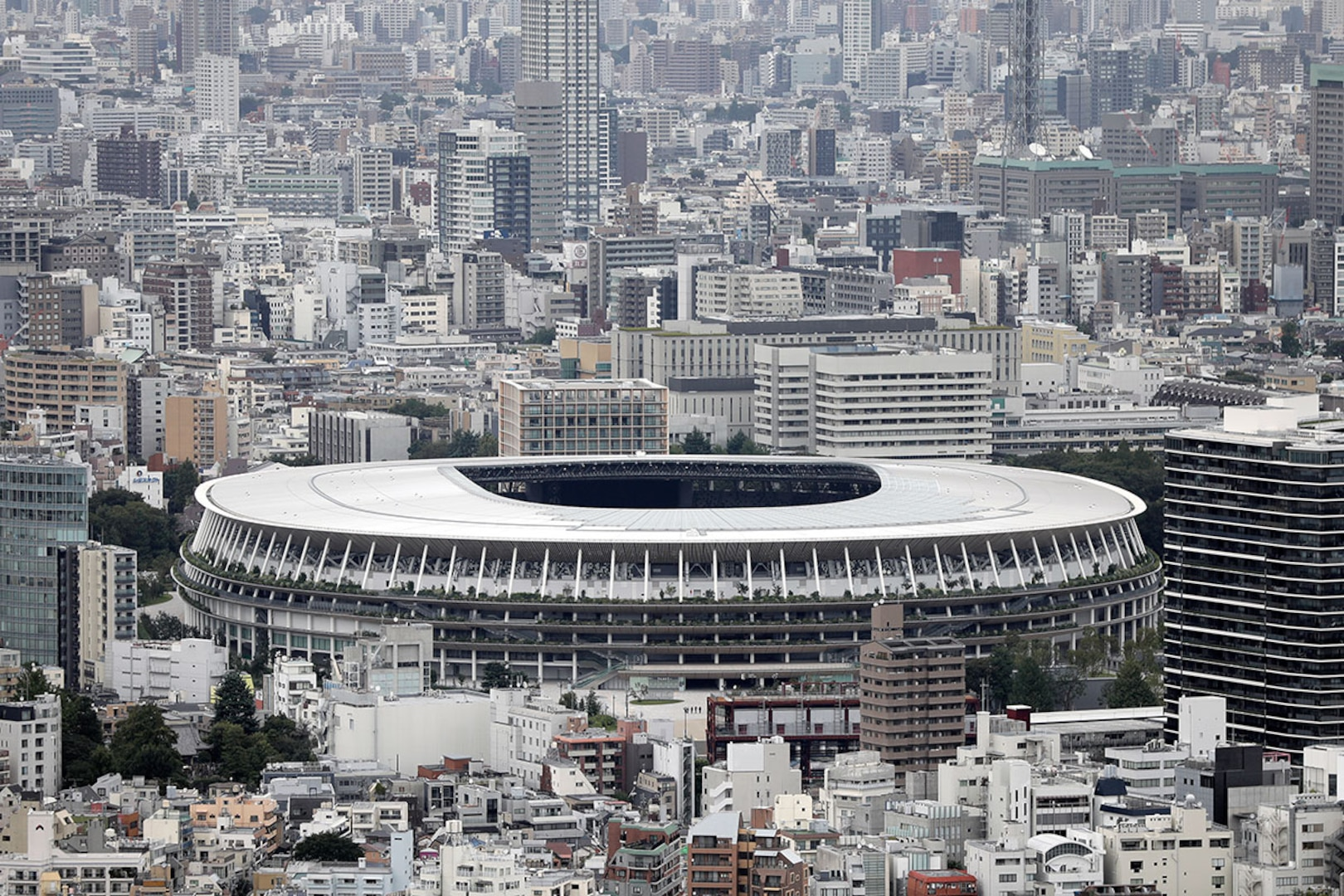 Exterior shot of the Olympic Stadium in Tokyo