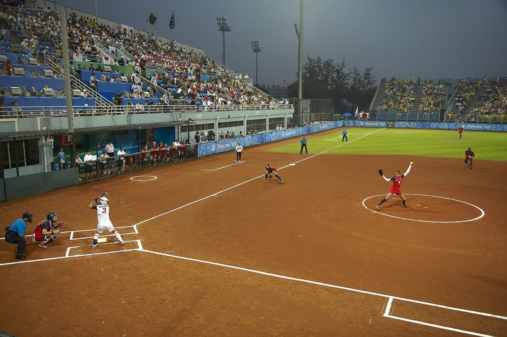 Team USA plays Japan in the gold medal final for softball at the 2008 Beijing Olympics