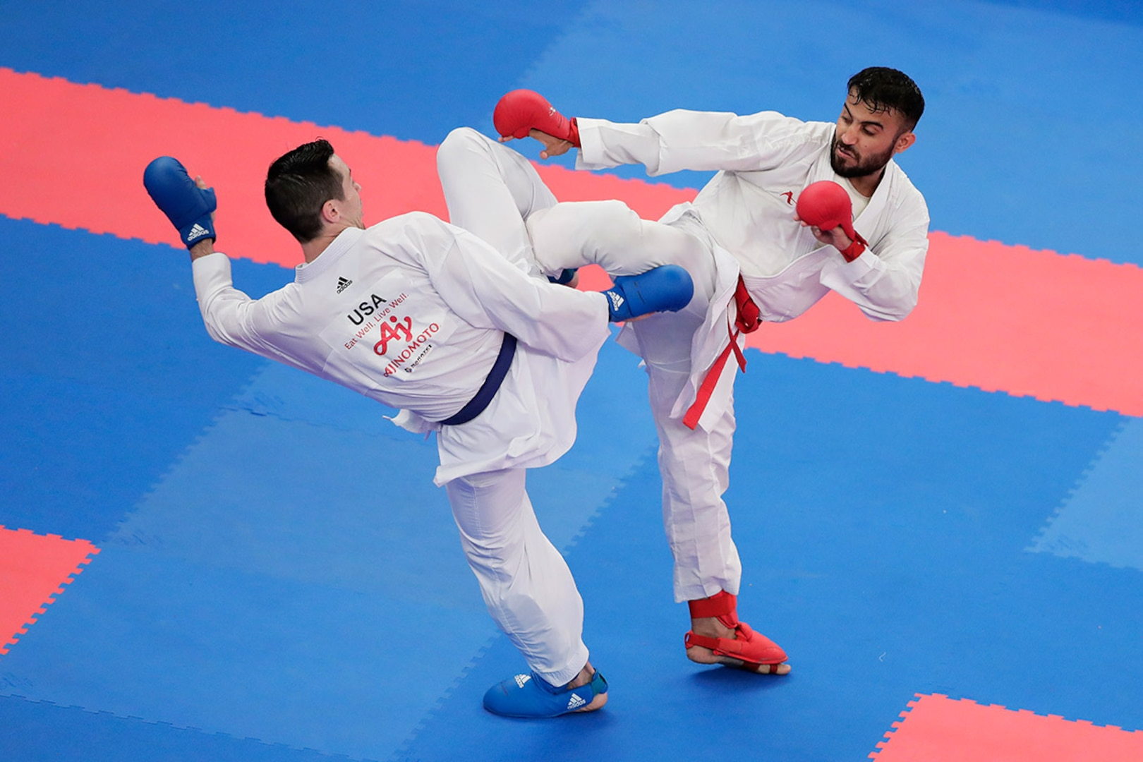 Tom Scott competes in men's kumite at a tournament held at the Nippon Budokan