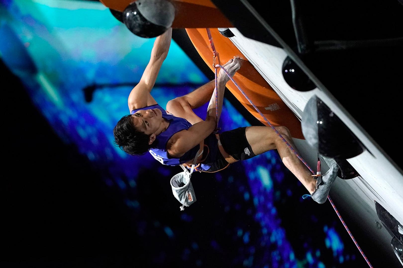 Tomoa Narasaki competes at the 2019 Sport Climbing World Championships