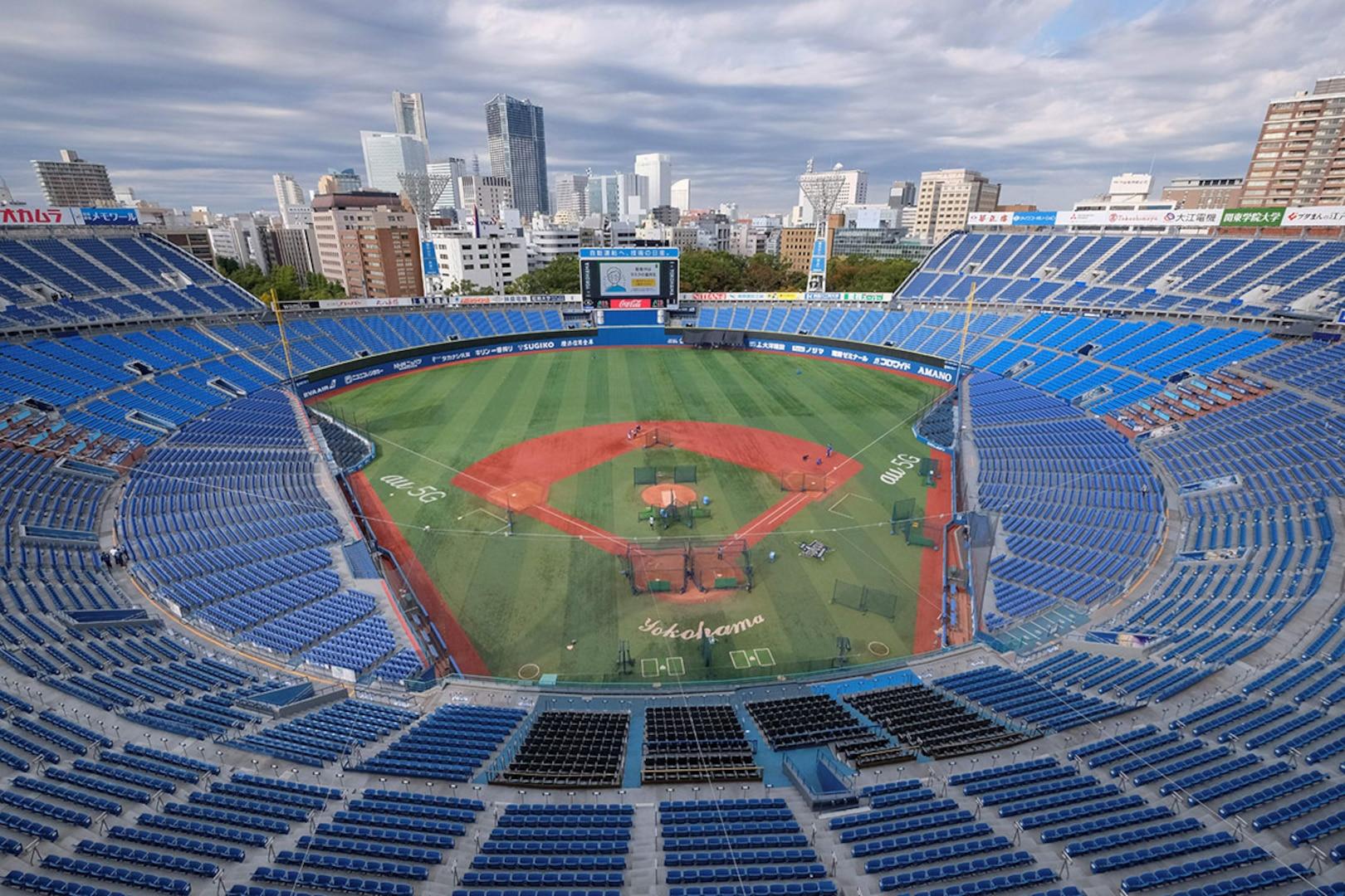 Overview shot of Yokohama Baseball Stadium