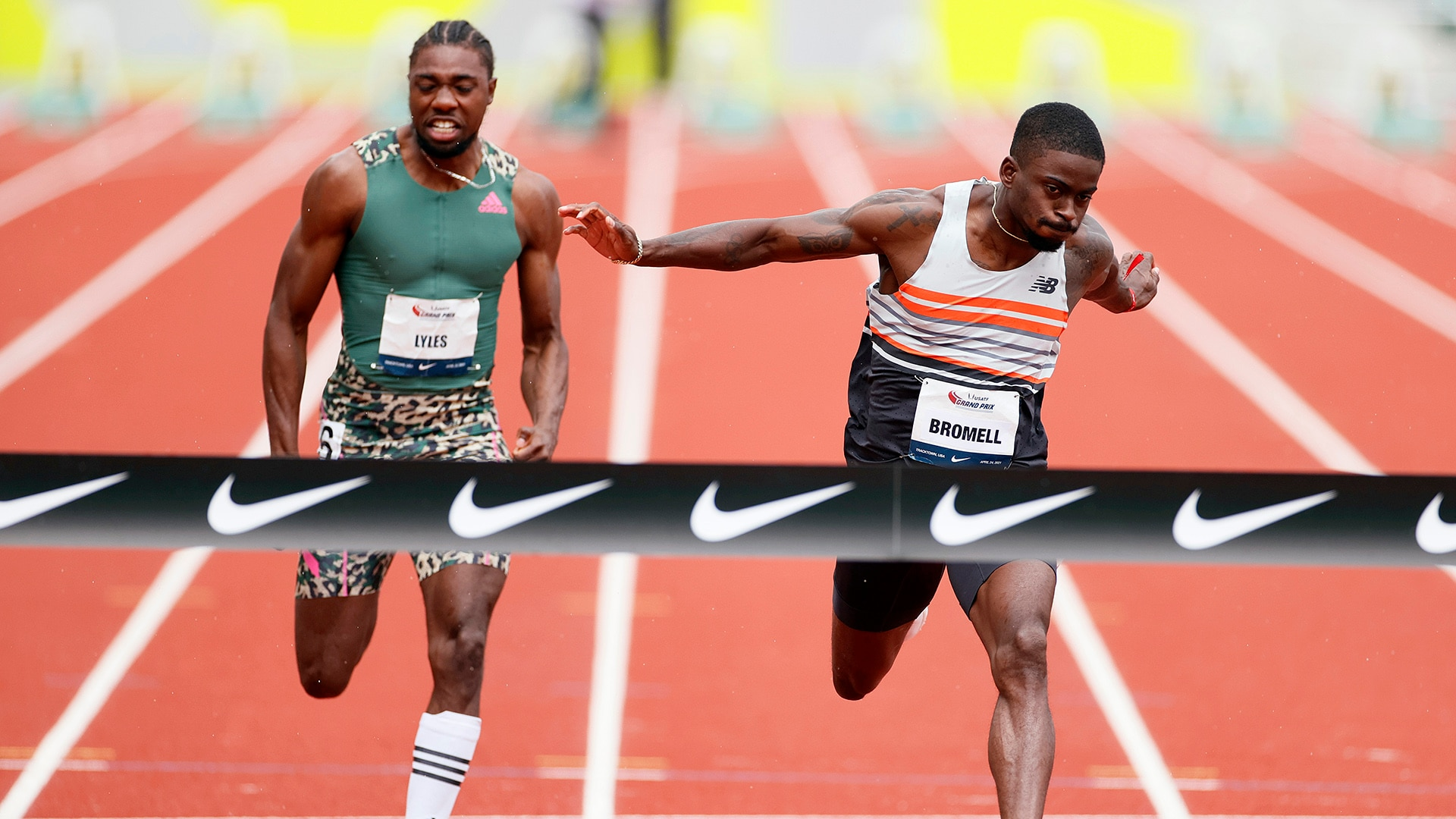 Trayvon Bromell beats Noah Lyles in the 100m at the USATF Grand Prix at the 2021 Oregon Relays