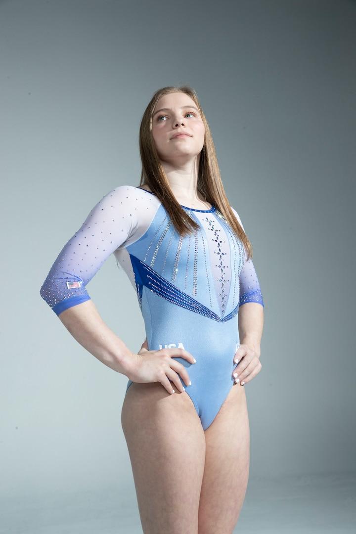 Jade Carey poses in a leotard