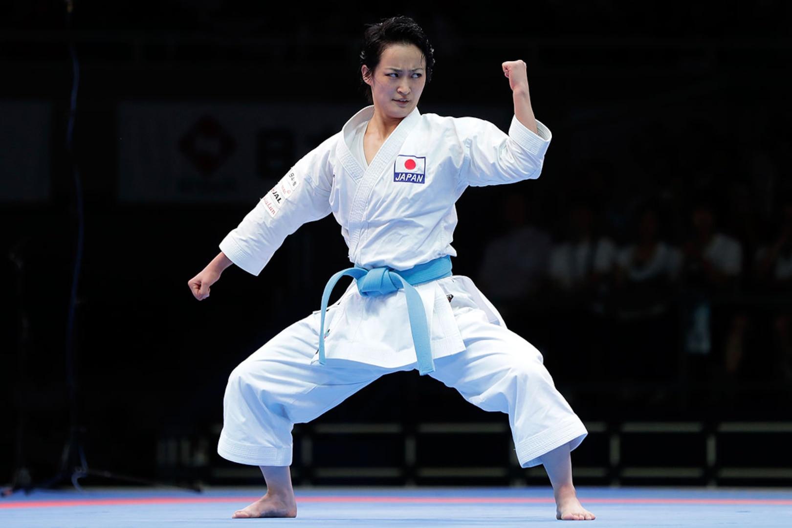 Kiyou Shimizu performs a movement during a kata competition