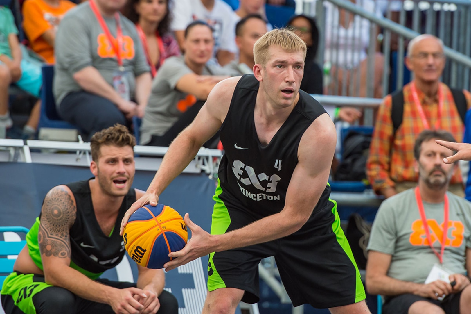 Robbie Hummel holds the basketball during a game of 3x3
