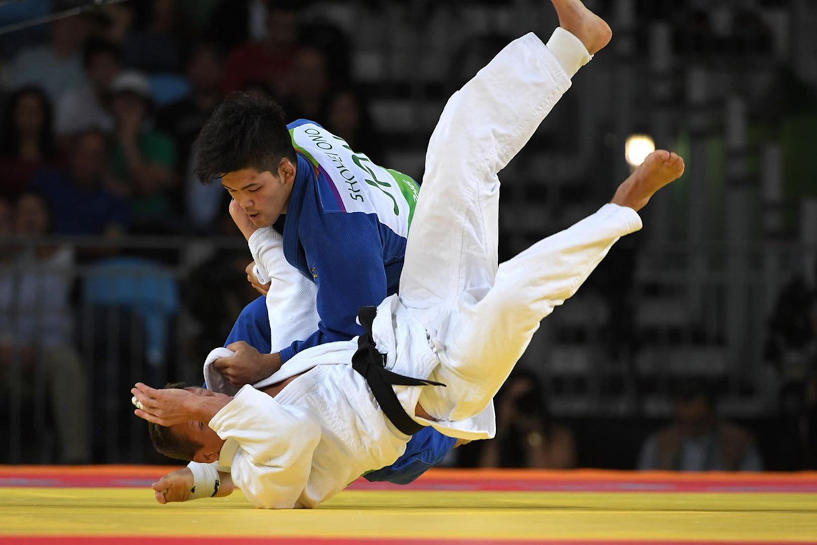 Shohei Ono sends an opposing judoka to the ground
