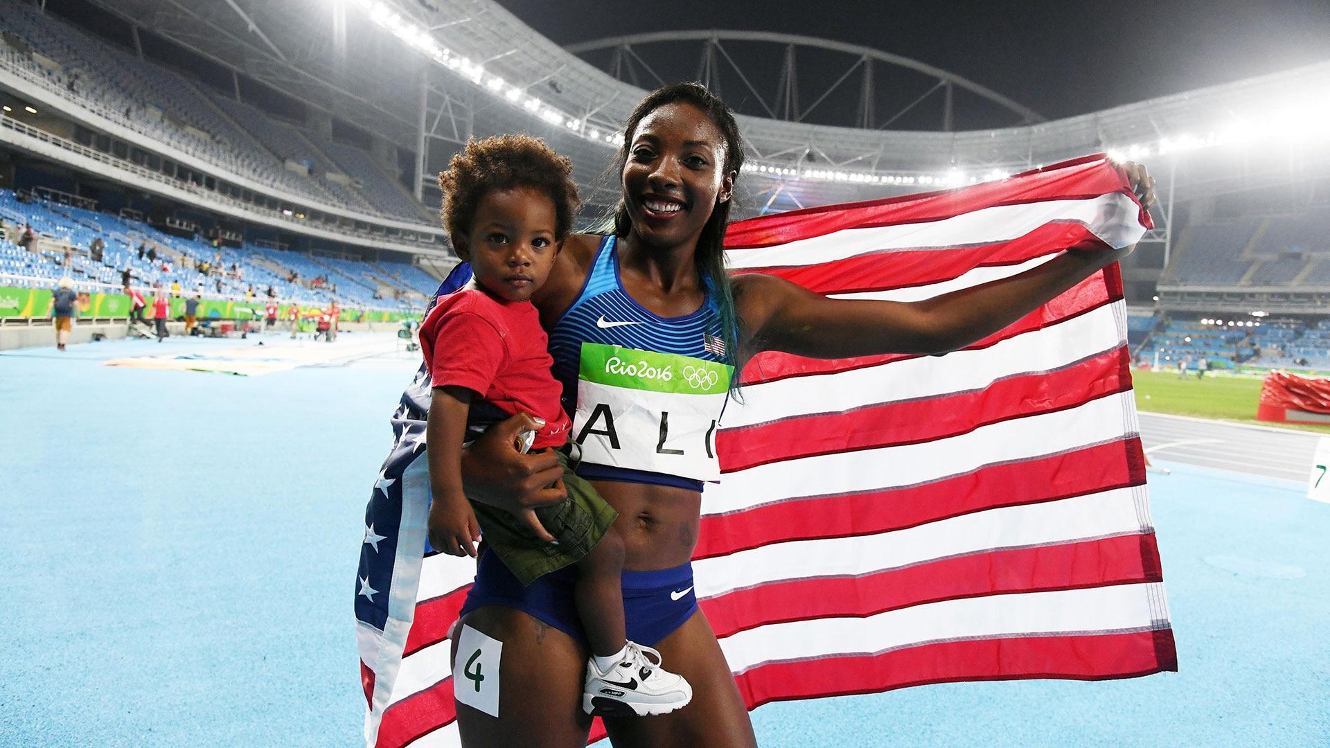 Nia Ali celebrates with her son, Titus, at the 2016 Rio Games