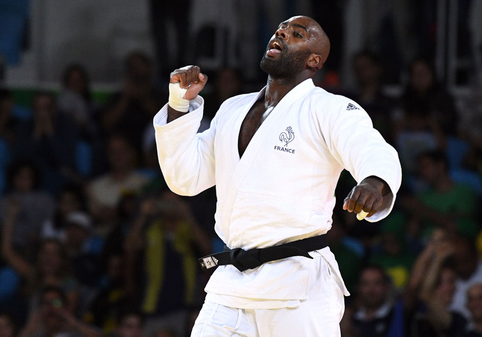 Teddy Riner celebrates after winning gold at the 2016 Games