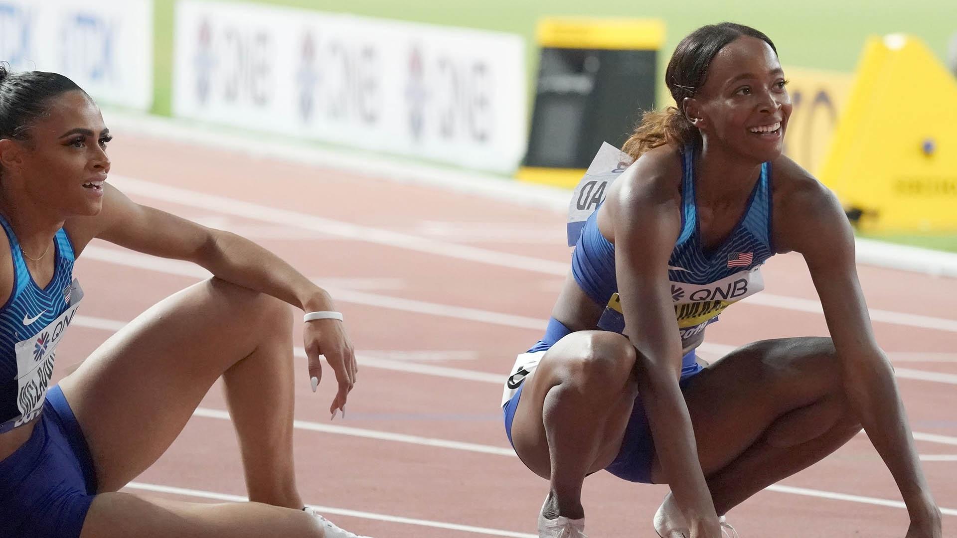 Dalilah Muhammad and Sydney McLaughlin at 2019 Worlds