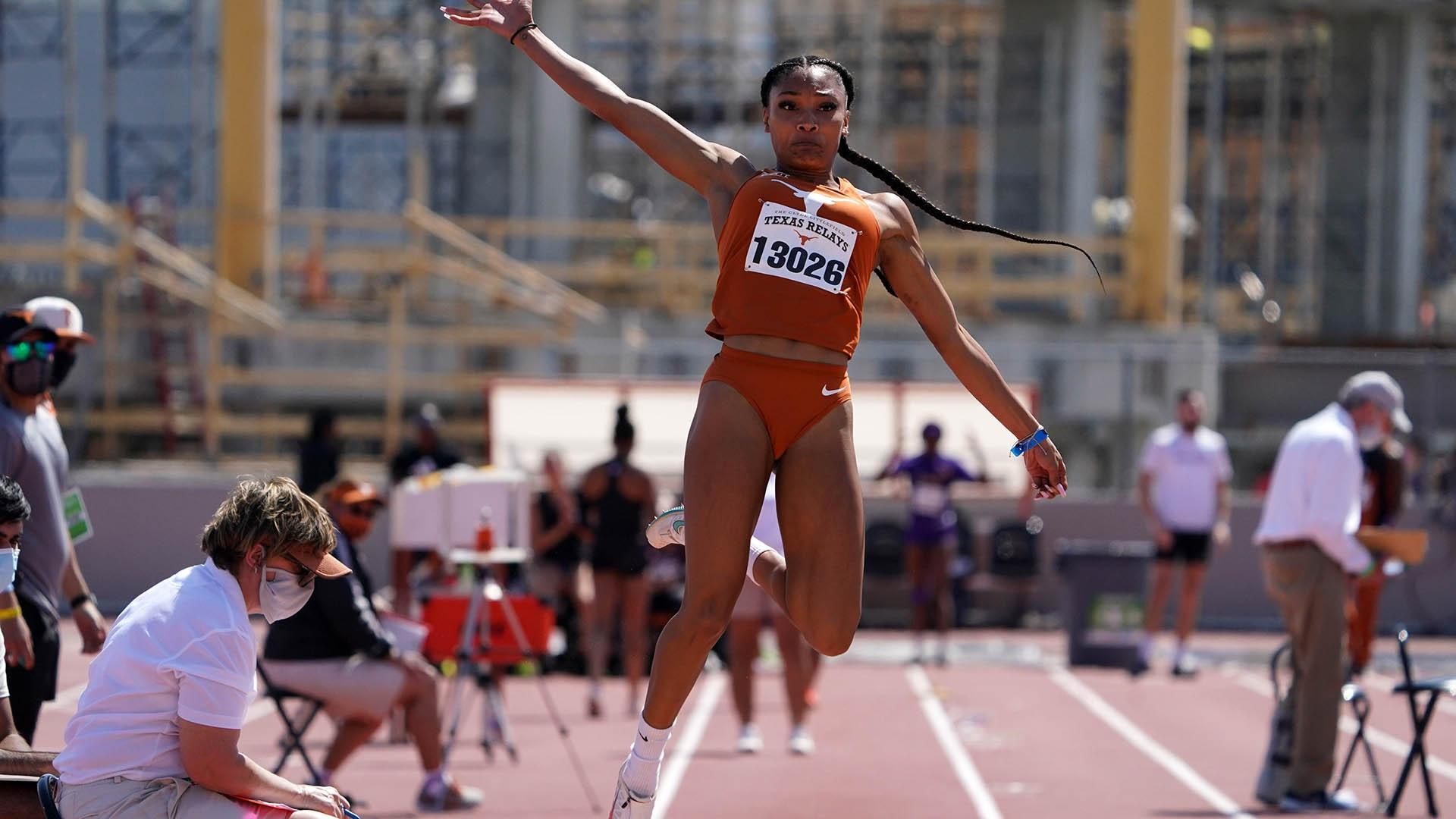 Tara Davis competes in the long jump at 2021 Texas Relays
