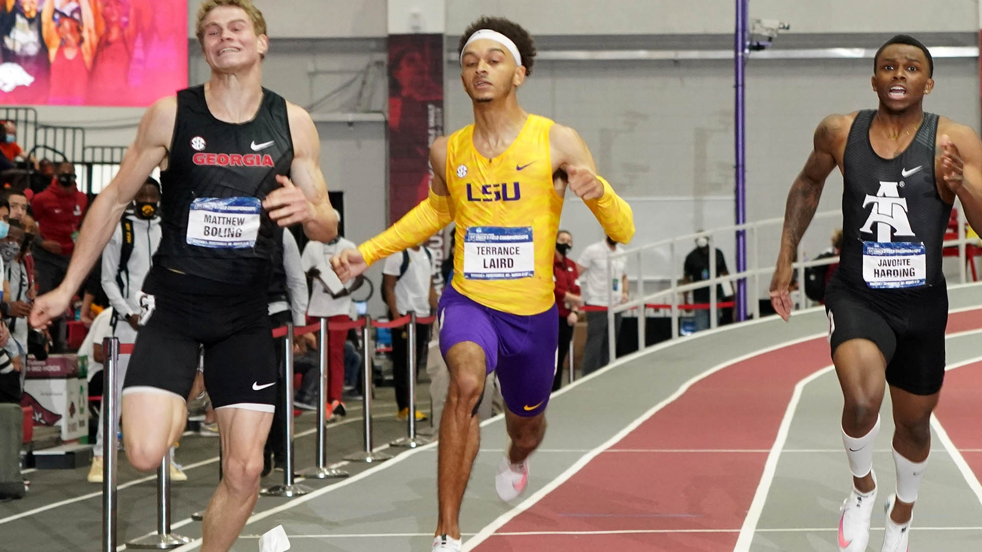 Terrance Laird competes in the 200m at 2021 NCAA Indoors