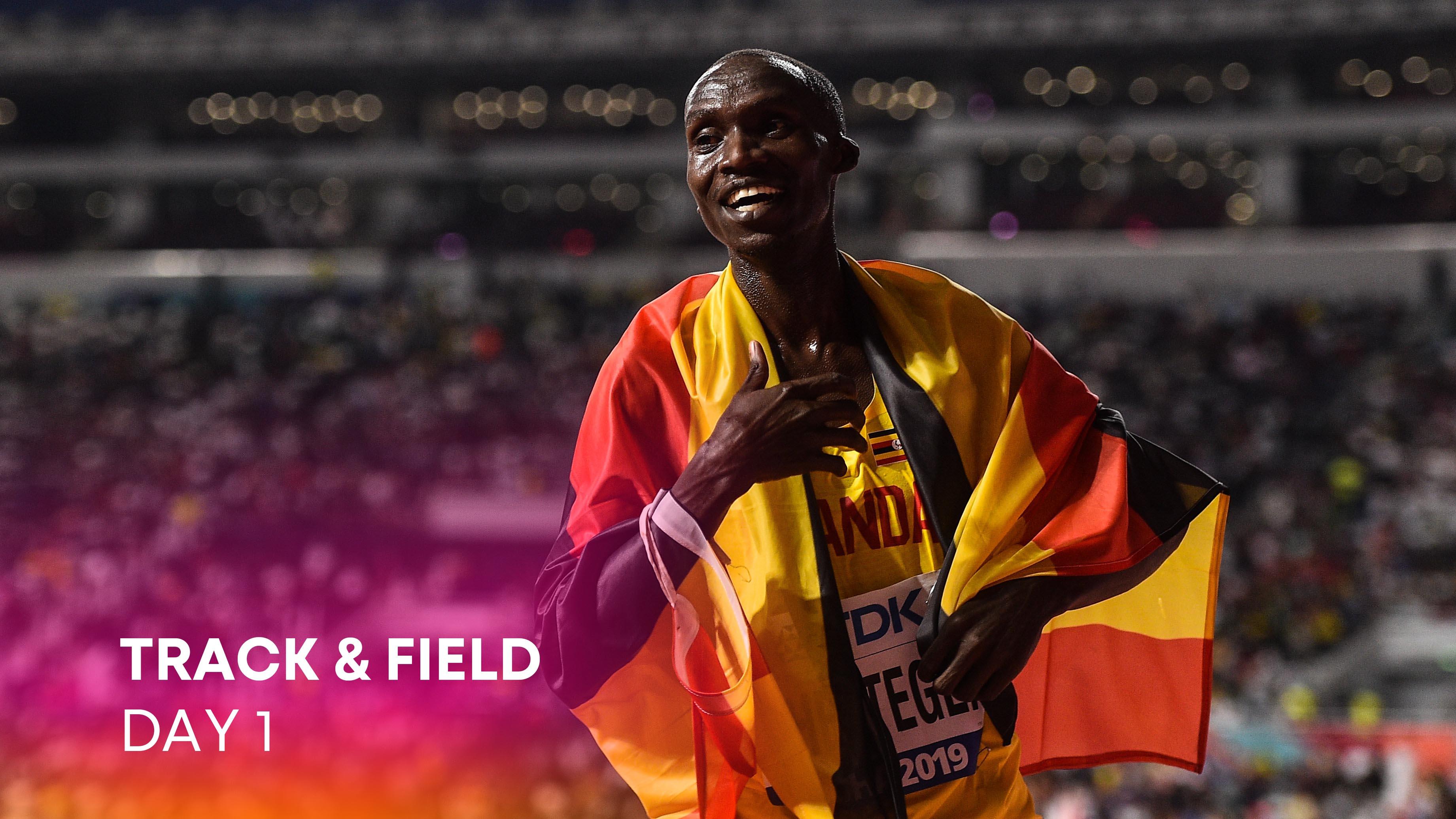 Doha , Qatar - 6 October 2019; Joshua Cheptegei of Uganda celebrates after winning the Men's...