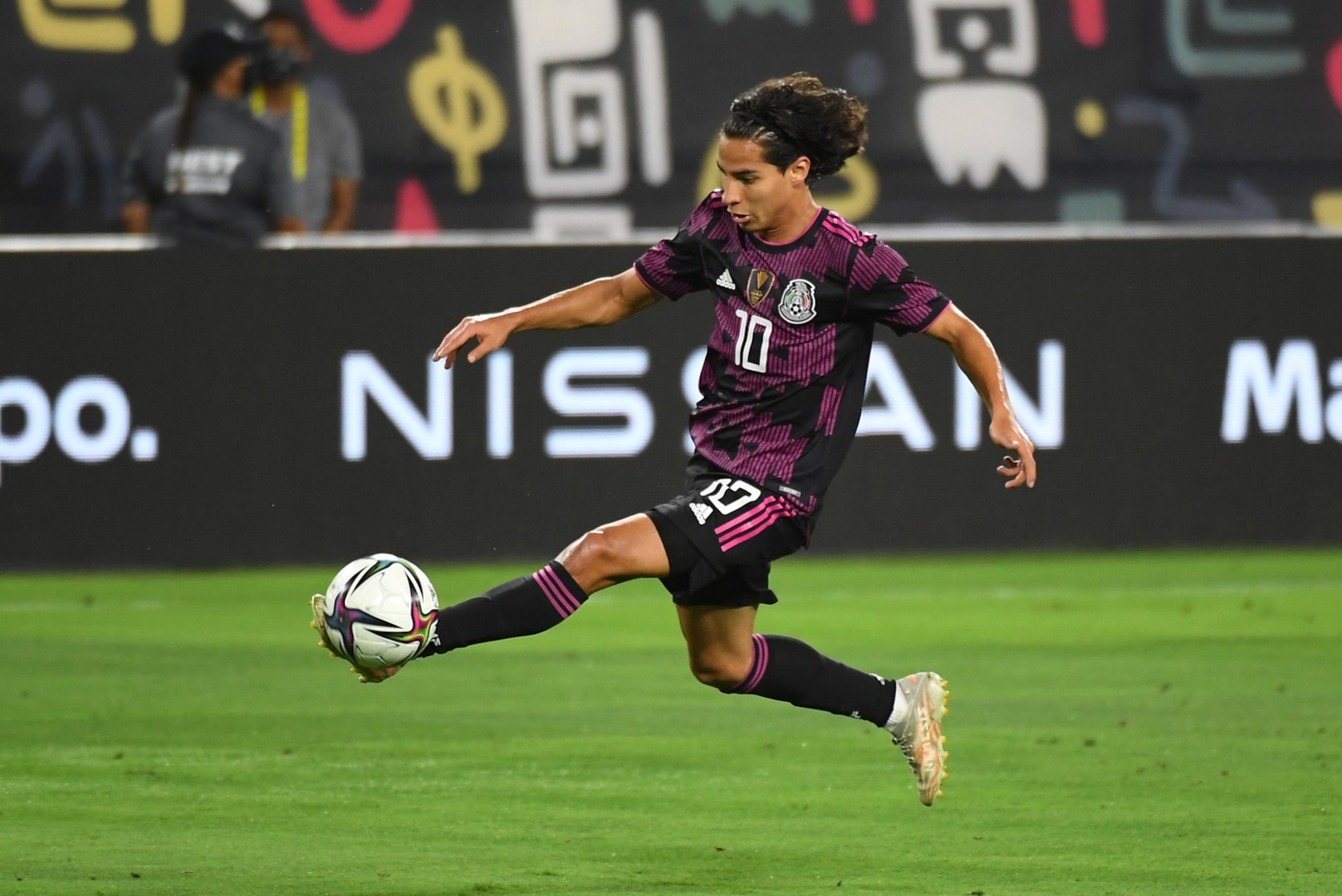 Mexico midfielder Diego Lainez playing in a senior national team friendly against Panama in Nashville.