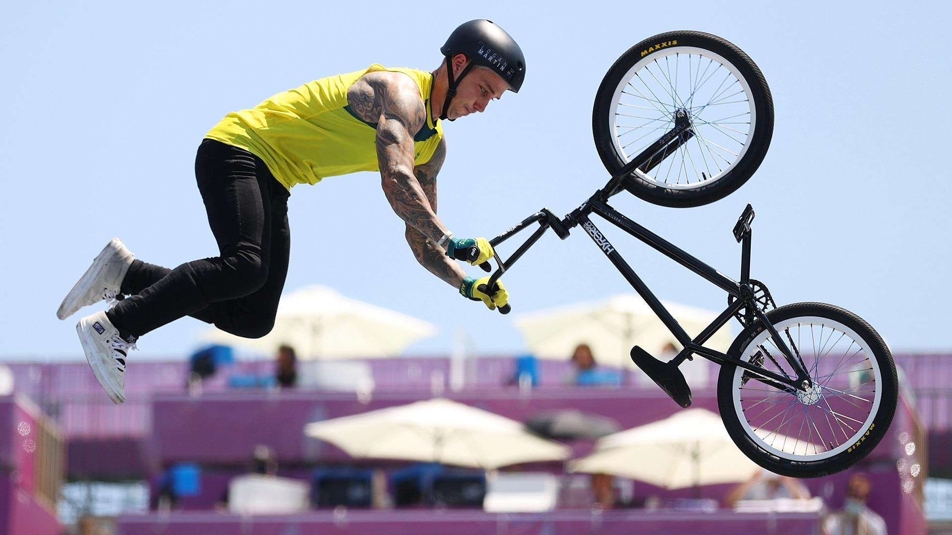 Logan Martin of Team Australia performs a trick during the Men's Park Final, run 2 of the BMX...