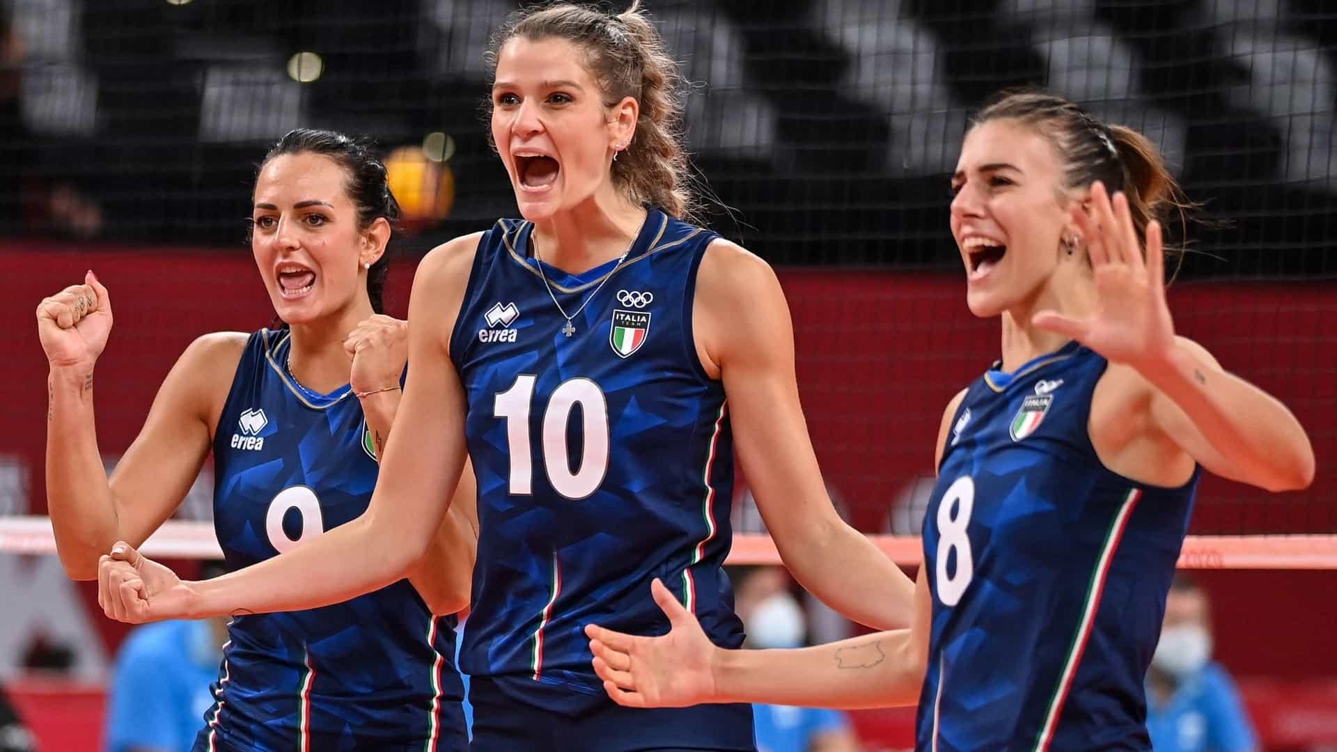Italy's Caterina Bosetti, Cristina Chirichella and Alessia Orro celebrate during Italy's win...