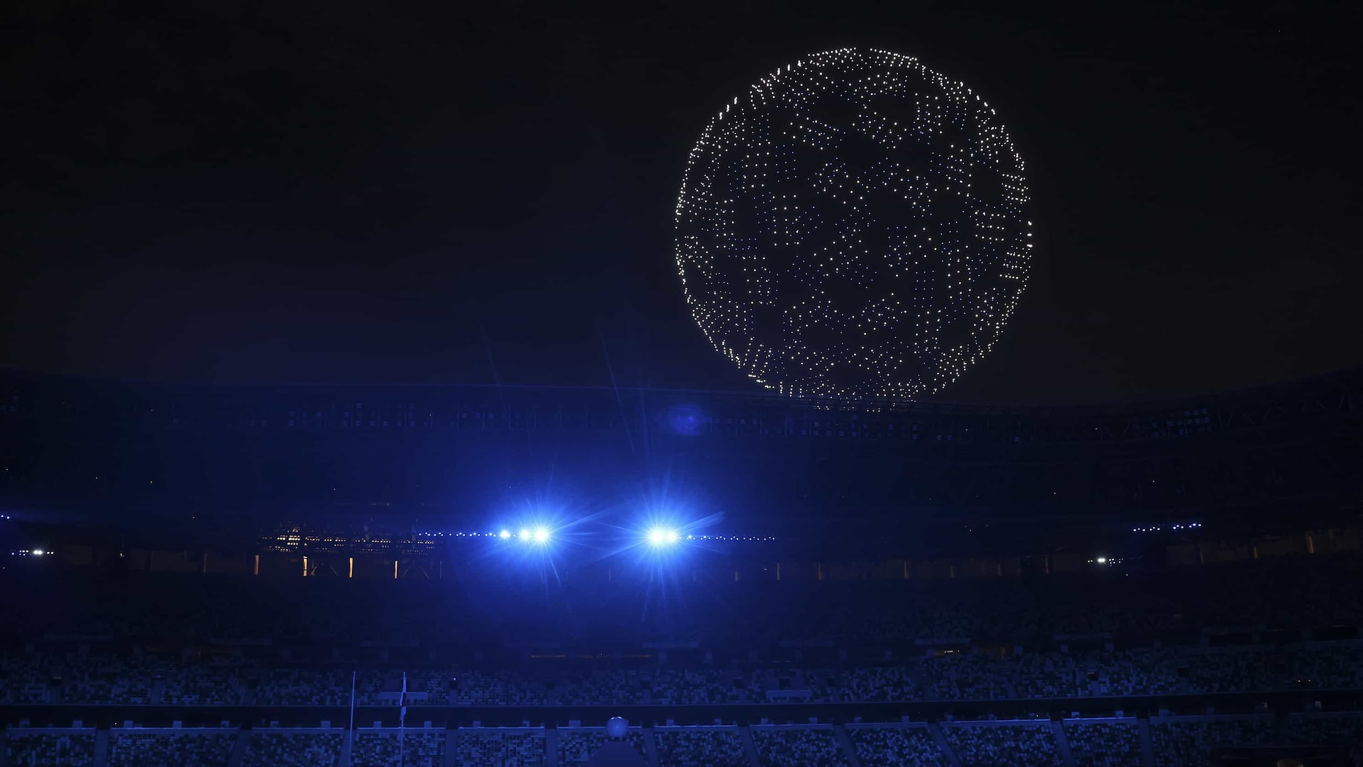1,825 drones hover over the Olympic Stadium for the 2020 Tokyo Olympic Games Opening Ceremony