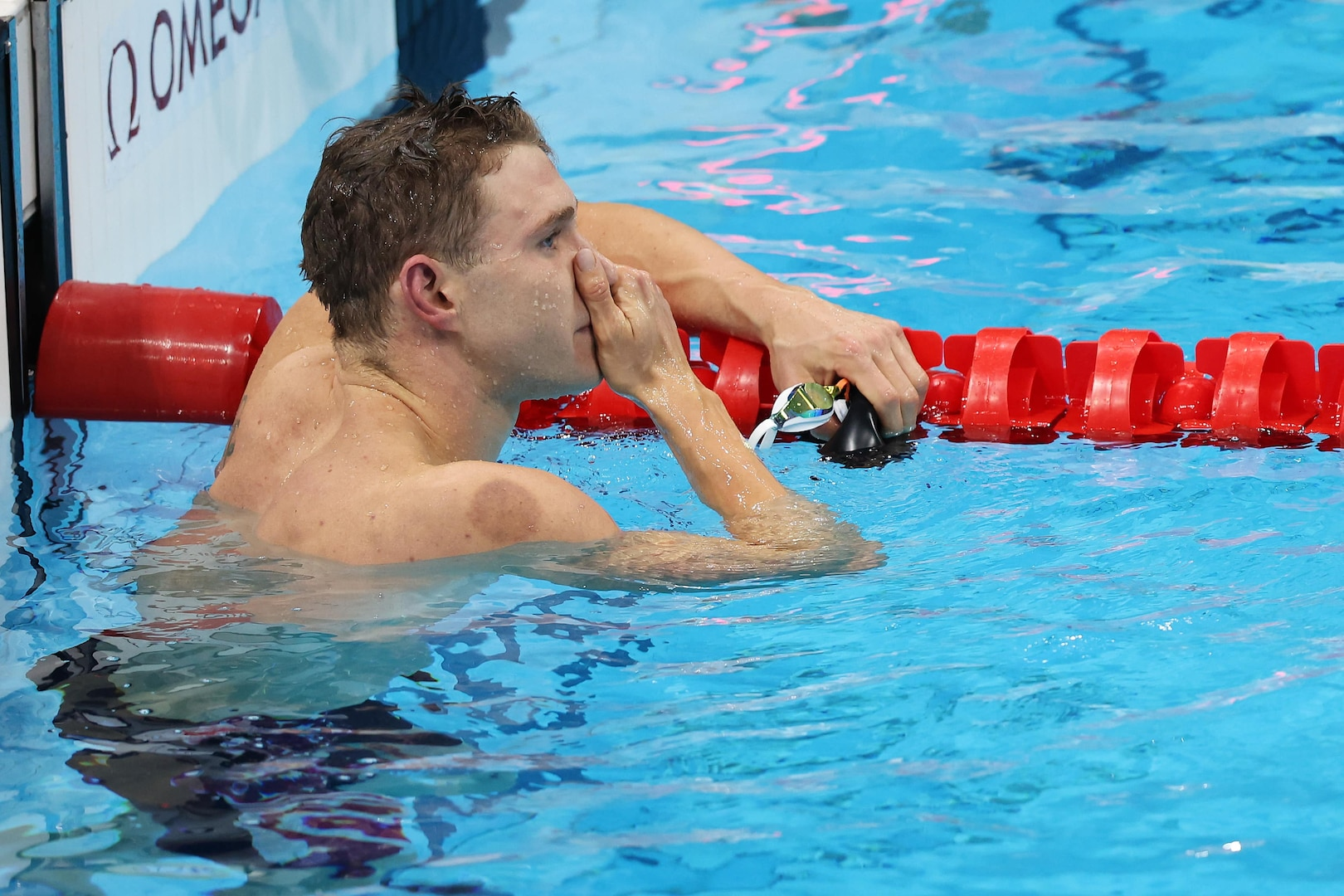 Ryan Murphy of Team United States reacts after competing in the Men's 200m Backstroke