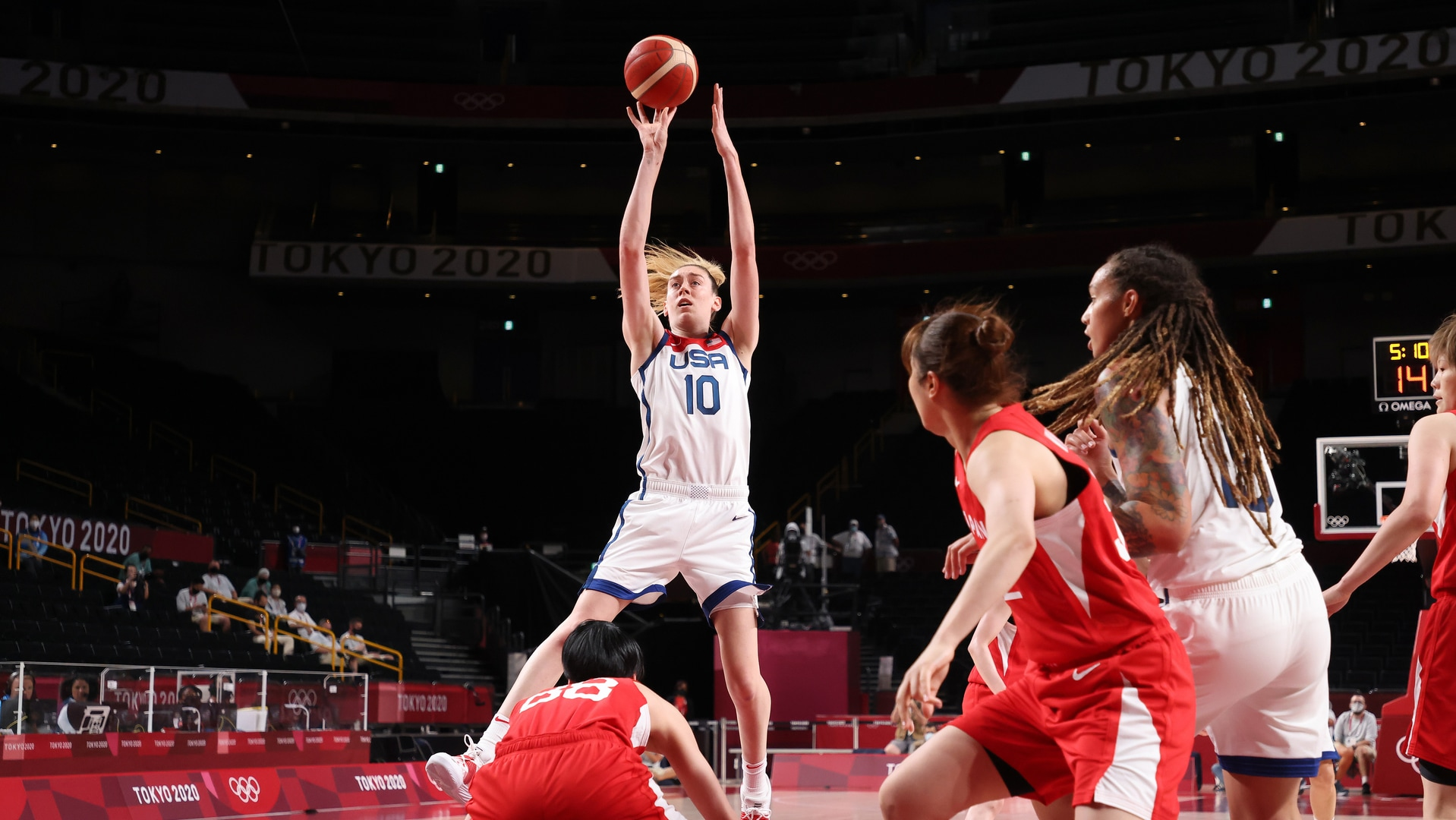 Image for Wilson, Stewart post double-doubles as USA women surge past Japan