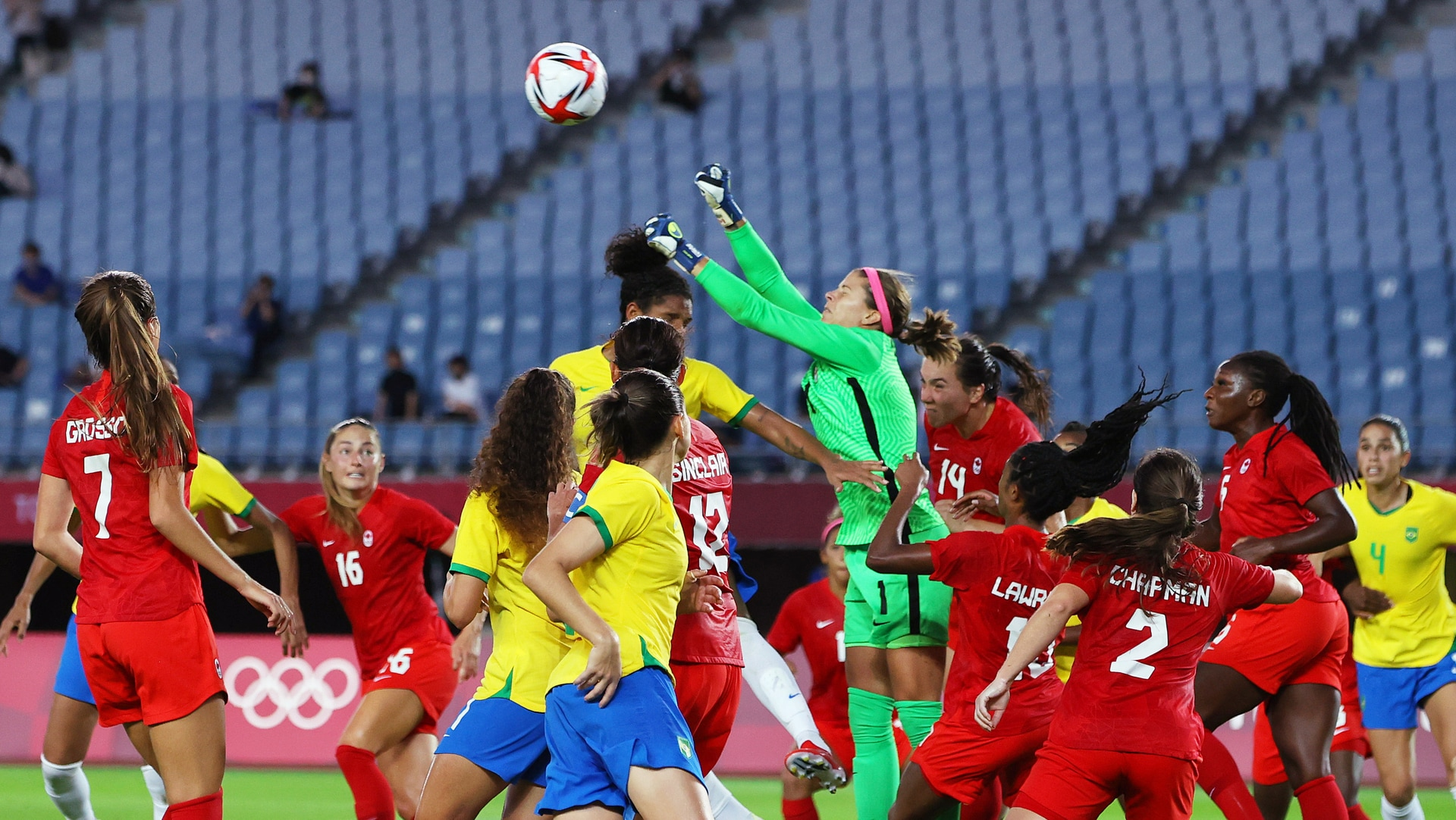 Stephanie Labbe of Canada punches the ball during the Women's Quarter Final match between...