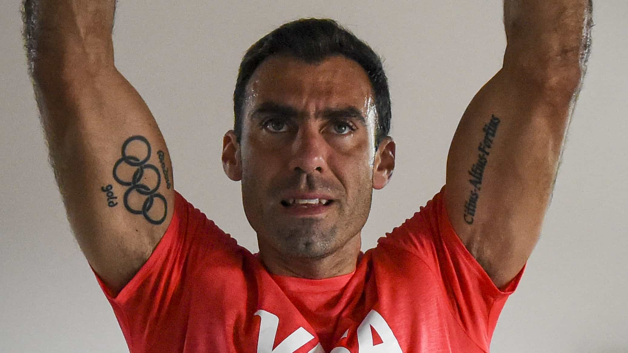 Juan Manuel Vivaldi's Olympic tattoo is on full display during training. (credit: Getty Images)