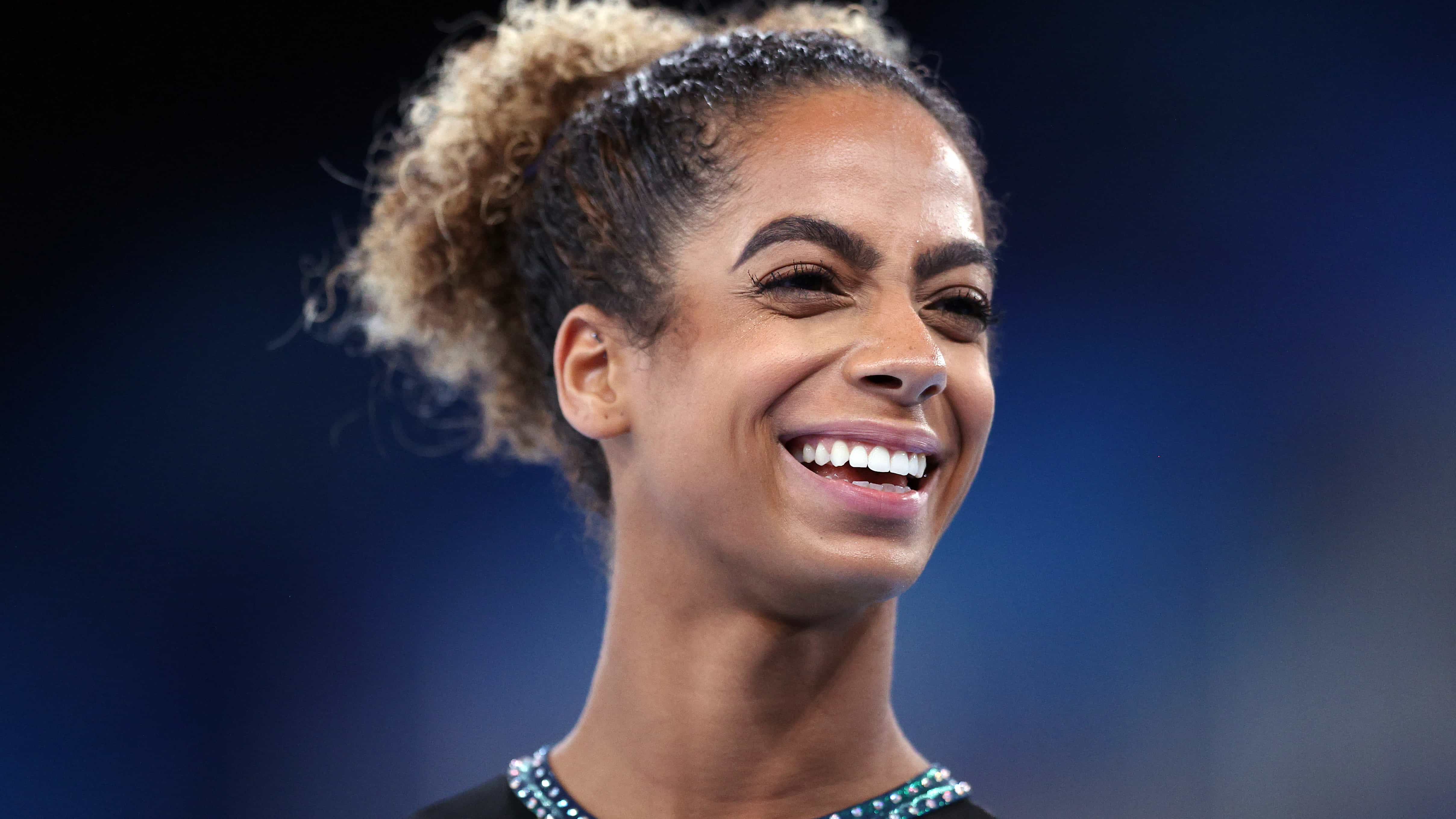 Danusia Francis was all smiles after her 11-second performance on the uneven bars in Tokyo....