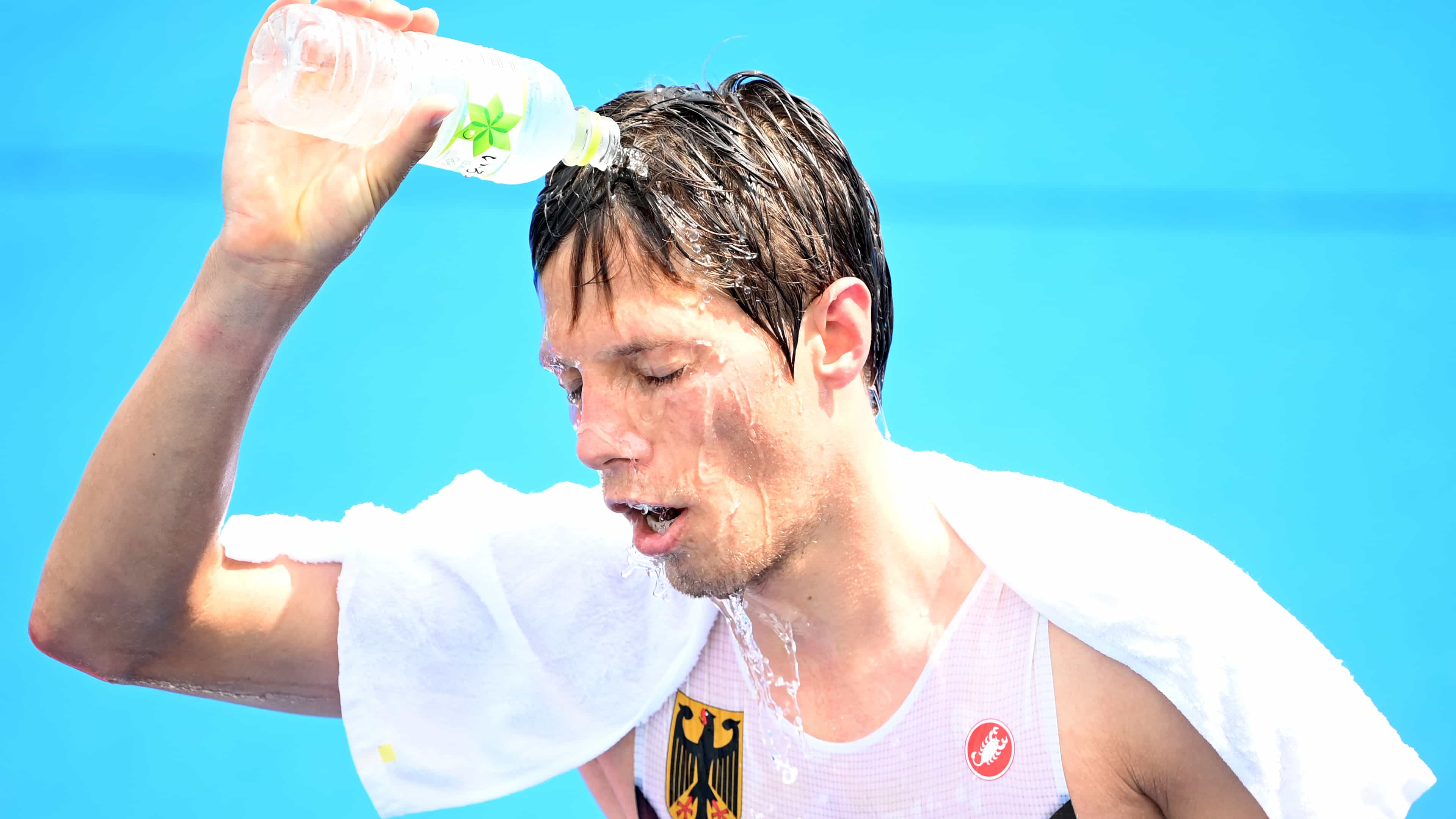 Justus Nieschlag from Germany cools off after the Olympic triathlon in Tokyo. (credit: Getty...