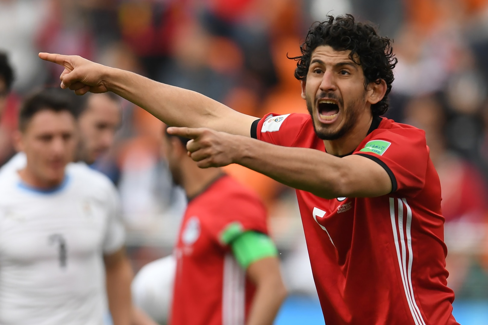 Ahmed Hegazi playing for Egypt at the 2018 FIFA World Cup