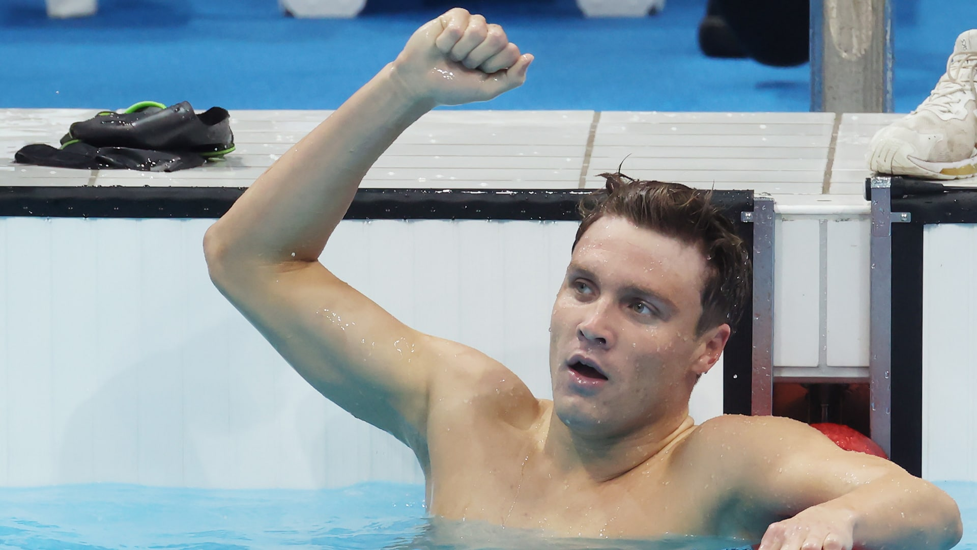 Bobby Finke of United States reacts after winning the gold medal in the men's 800m freestyle....