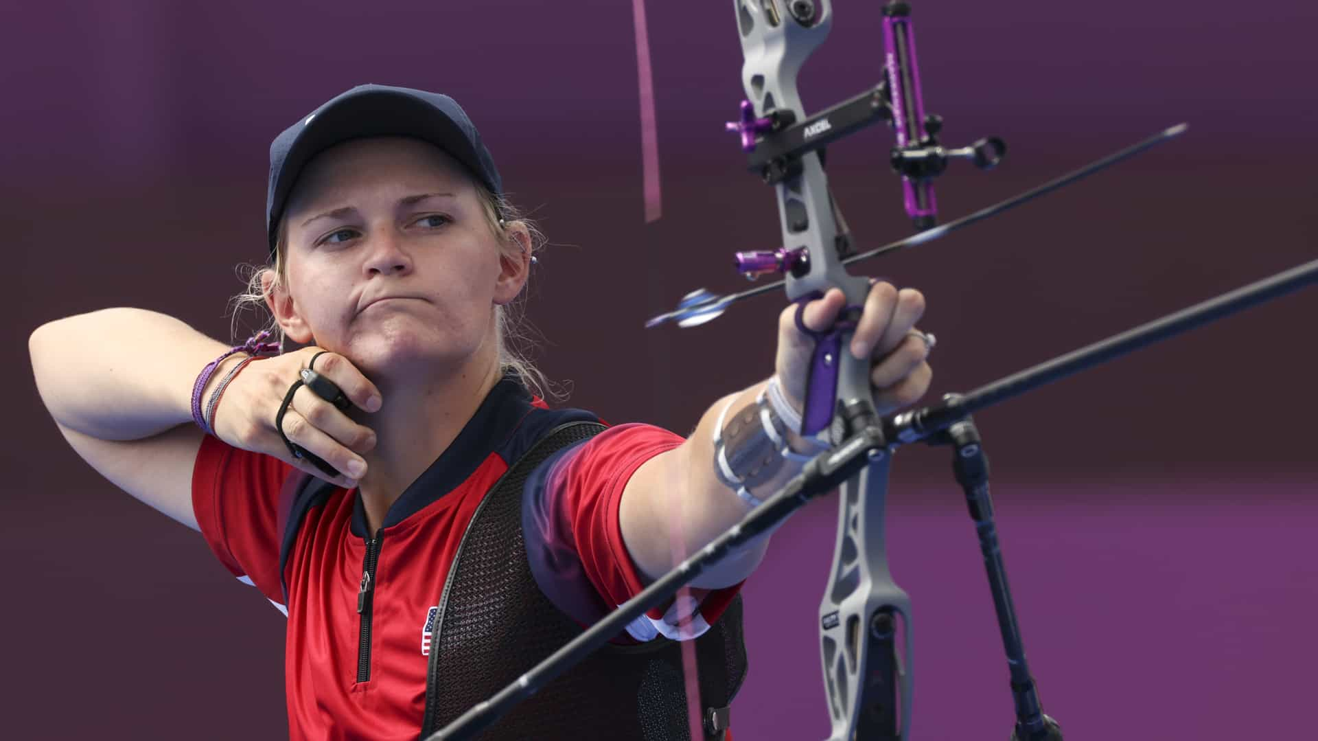 An arrow leaves the bow of U.S. archer Mackenzie Brown in Friday's Olympic women's individual event.