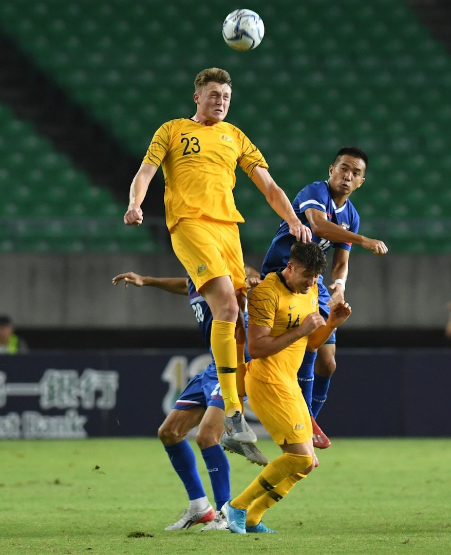 Harry Souttar of Australia heads a chance on goal during a 2022 FIFA World Cup qualification match
