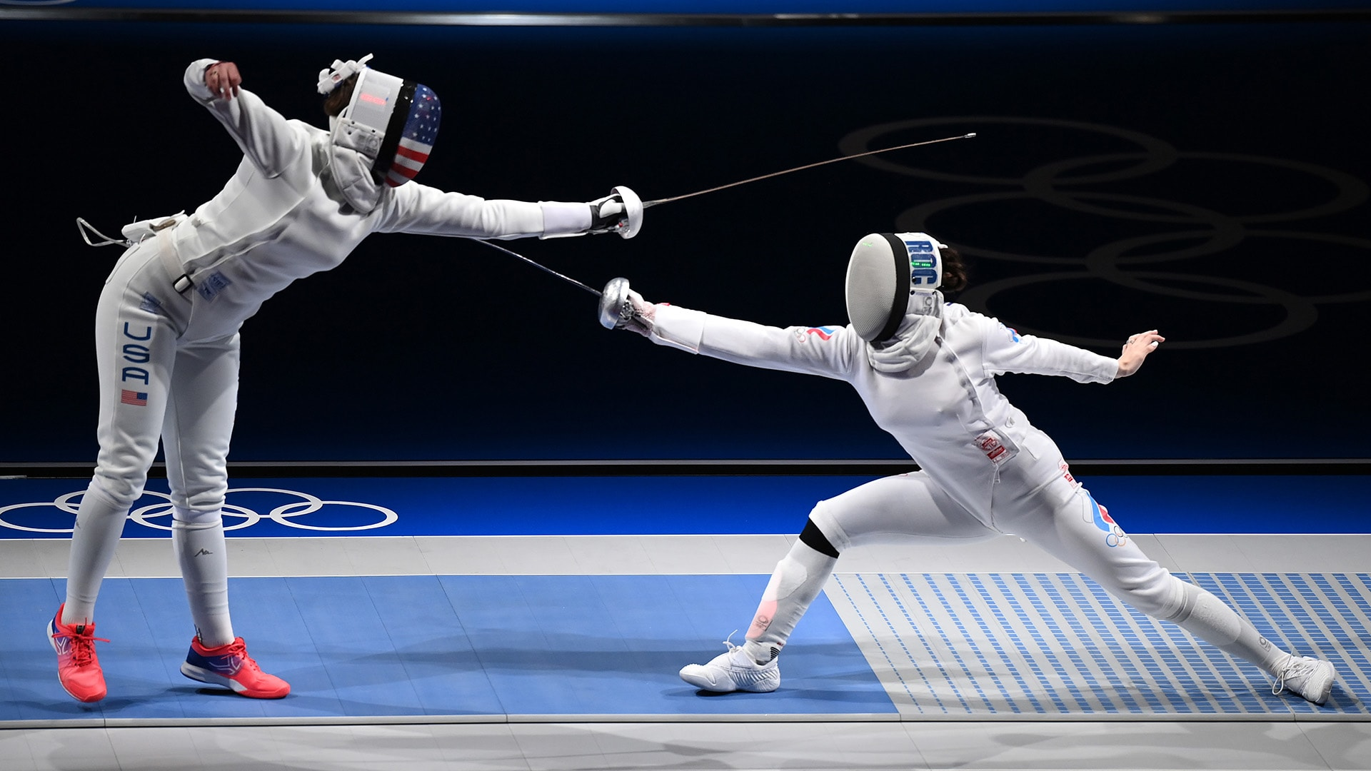 Kelley Hurley was defeated by Russian fencer Aizanat Murtazaeva in the women's individual epee...