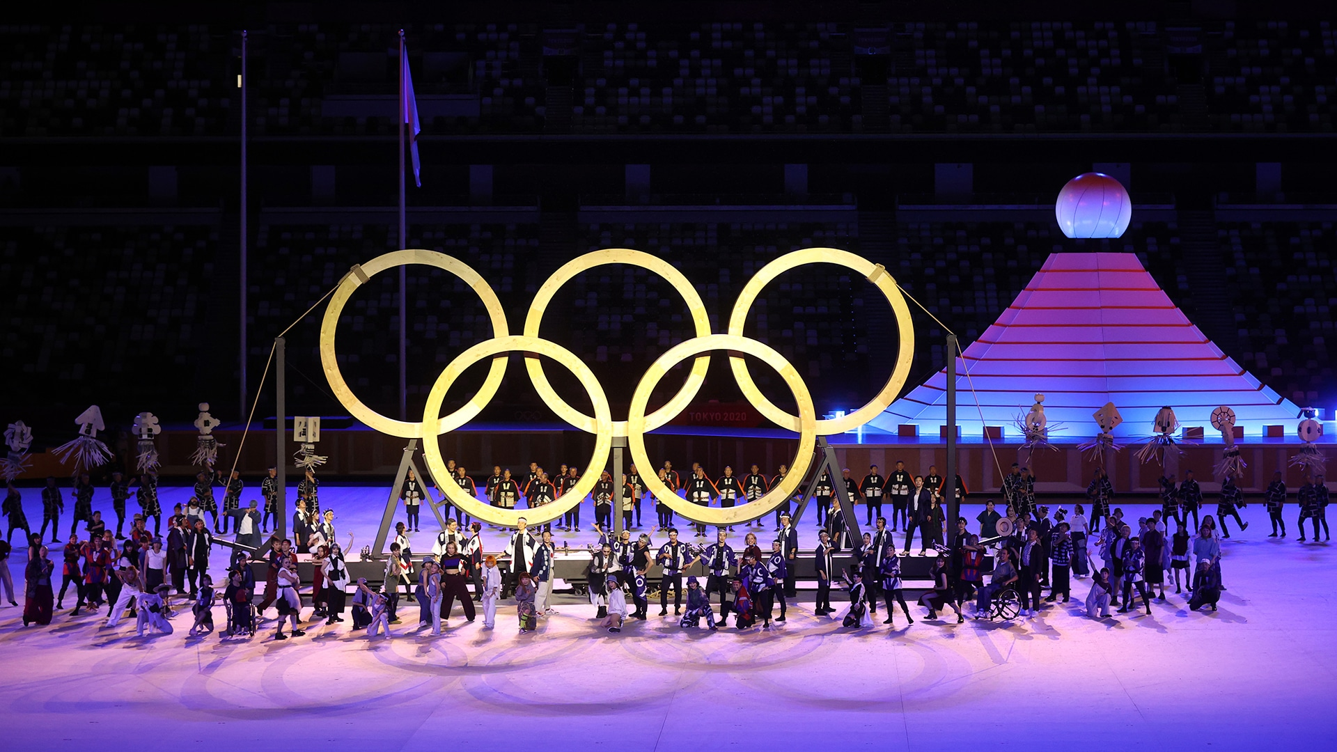 The Olympic rings are shown during the Tokyo Olympics Opening Ceremony. (credit: Getty Images)