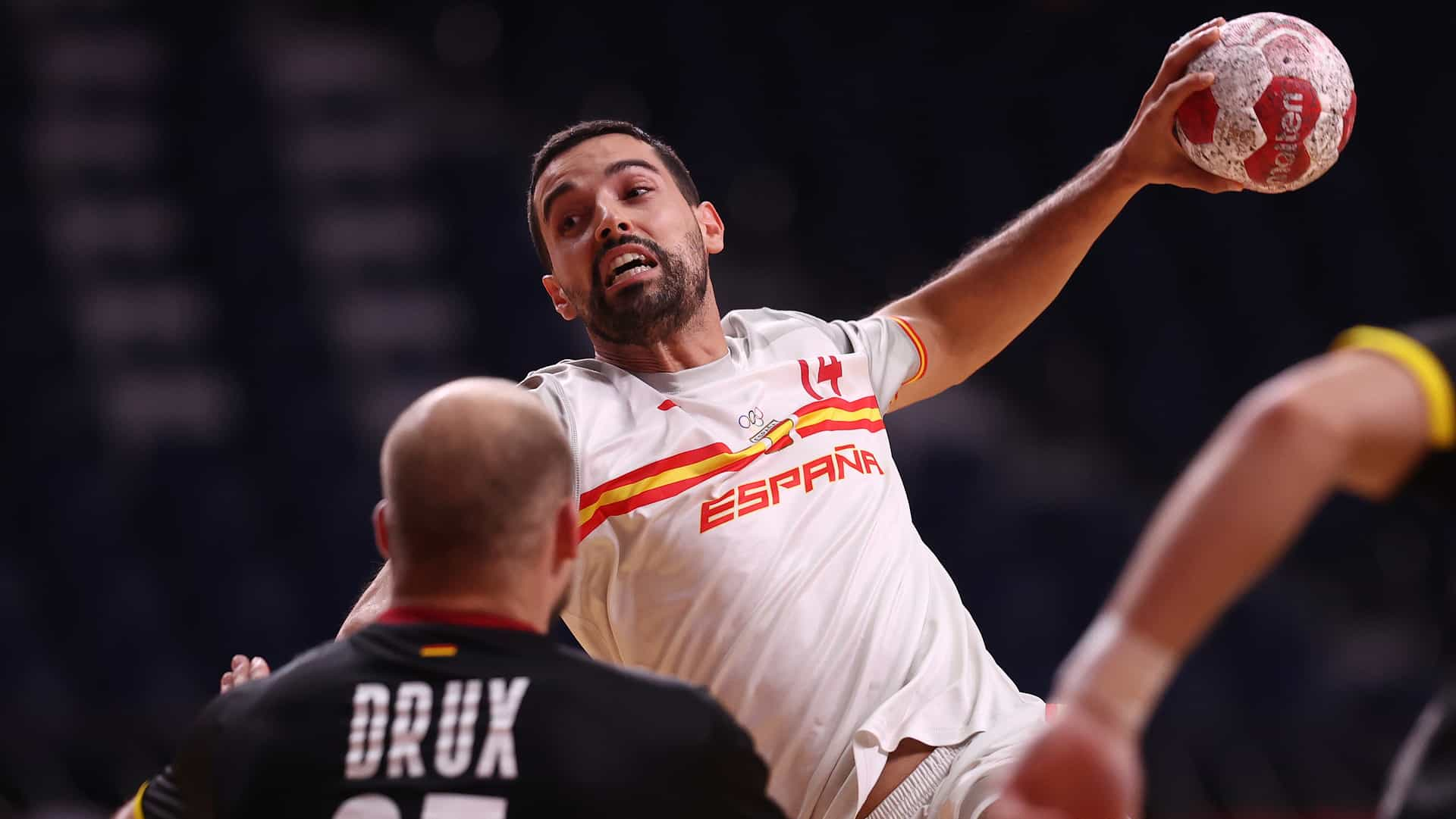 Ferran Sole Sala of Spain eyes the target in his team's handball match with Germany. (credit:...