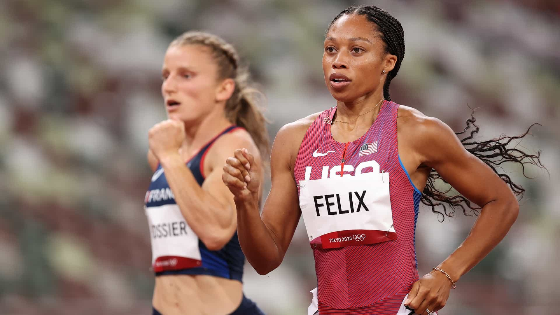 Allyson Felix competes in the women's 400m track and field semifinals