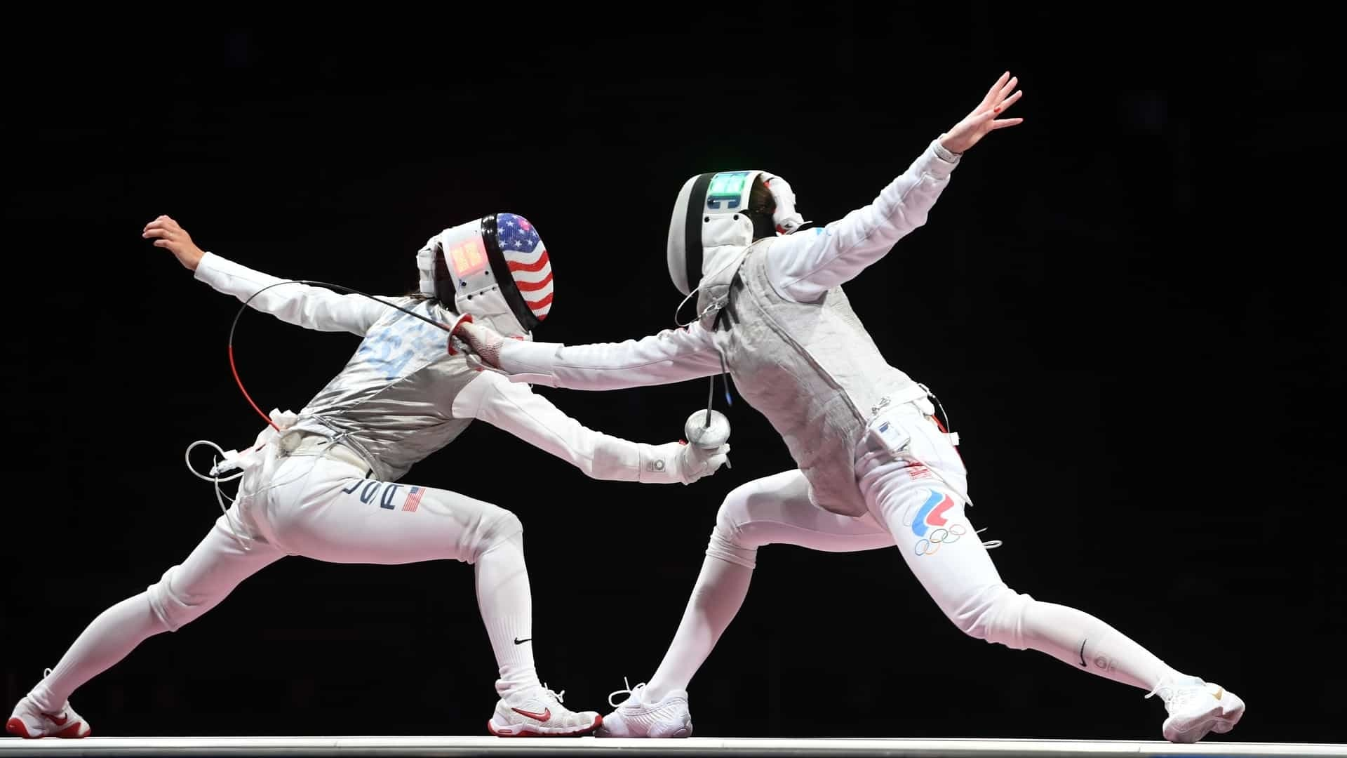 U.S. fencer Lee Kiefer faces Inna Deriglazonva of ROC in the women's foil individual gold medal match at the Tokyo Olympic Games.