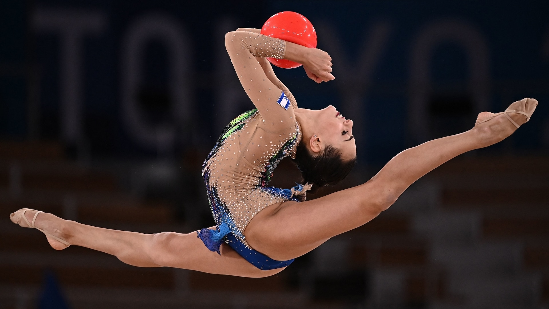 Israel's Linoy Ashram competes in the individual all-around final of the Rhythmic Gymnastics event during Tokyo 2020 Olympic Games