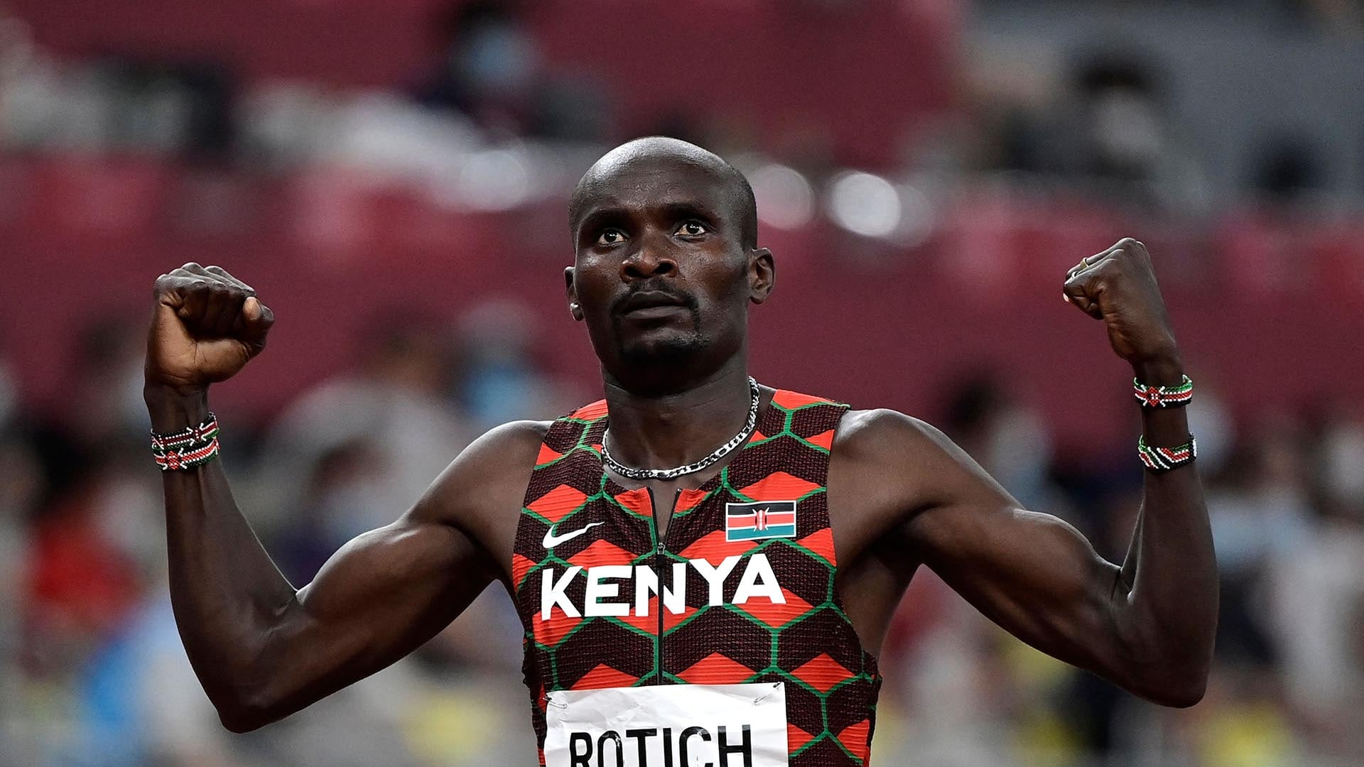 Kenya's Ferguson Cheruiyot Rotich celebrates after winning  in  the men's 800m semi-finals during the Tokyo 2020 Olympic Games at the Olympic Stadium in Tokyo on August 1, 2021. (Photo by Javier SORIANO / AFP) (Photo by JAVIER SORIANO/AFP via Getty Images)