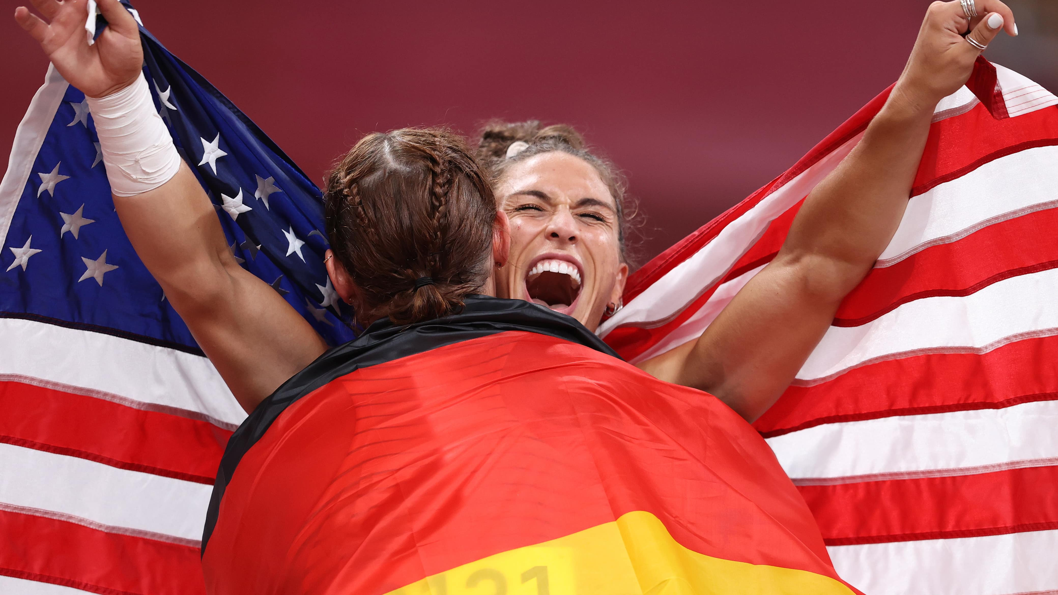 TOKYO, JAPAN - AUGUST 02: Silver medalist, Kristin Pudenz of Team Germany and gold medalist...