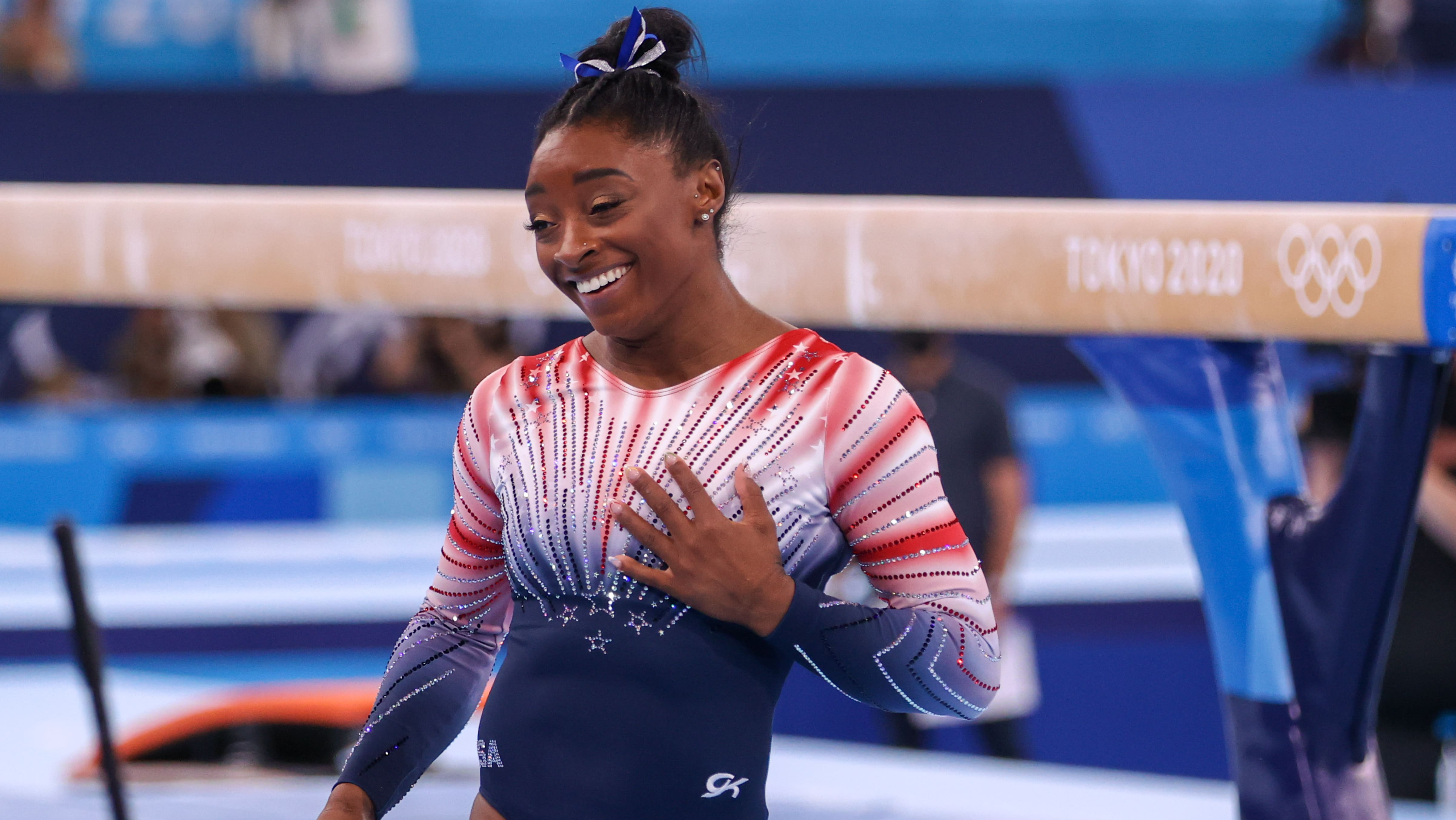 TOKYO, JAPAN - AUGUST 3: Simone Biles of Team United States competes during the Women's Balance...