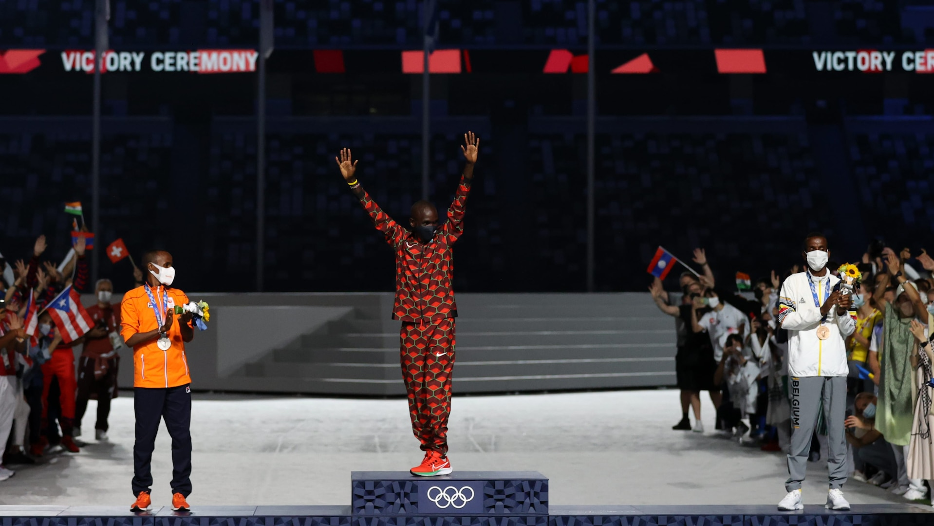 Eliud Kipchoge poses for the Men's Marathon Final during the Closing Ceremony