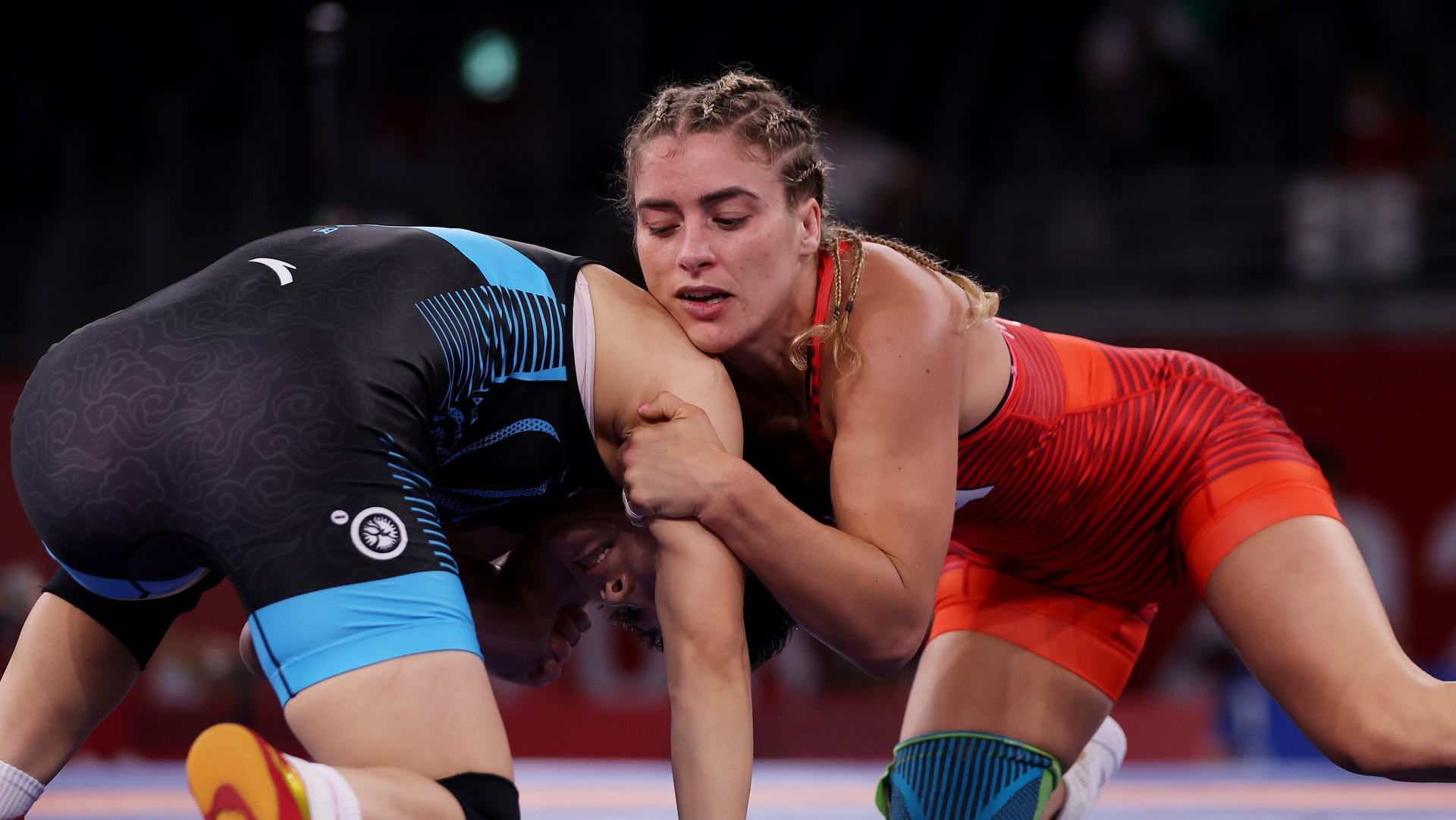 Helen Maroulis of Team USA competes against Ningning Rong of China during the Women's Freestyle...