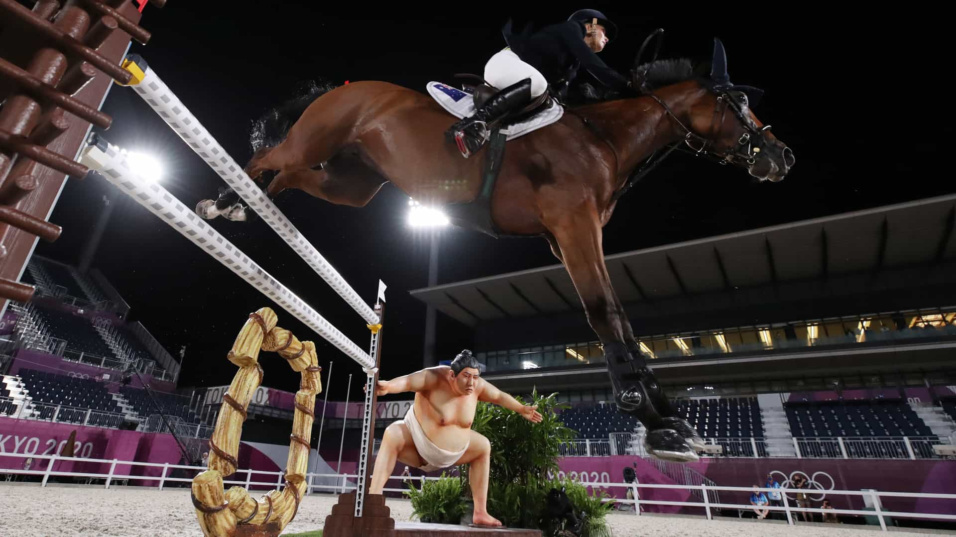 Image for Spooky sumo display may be making some Olympic horses jumpy