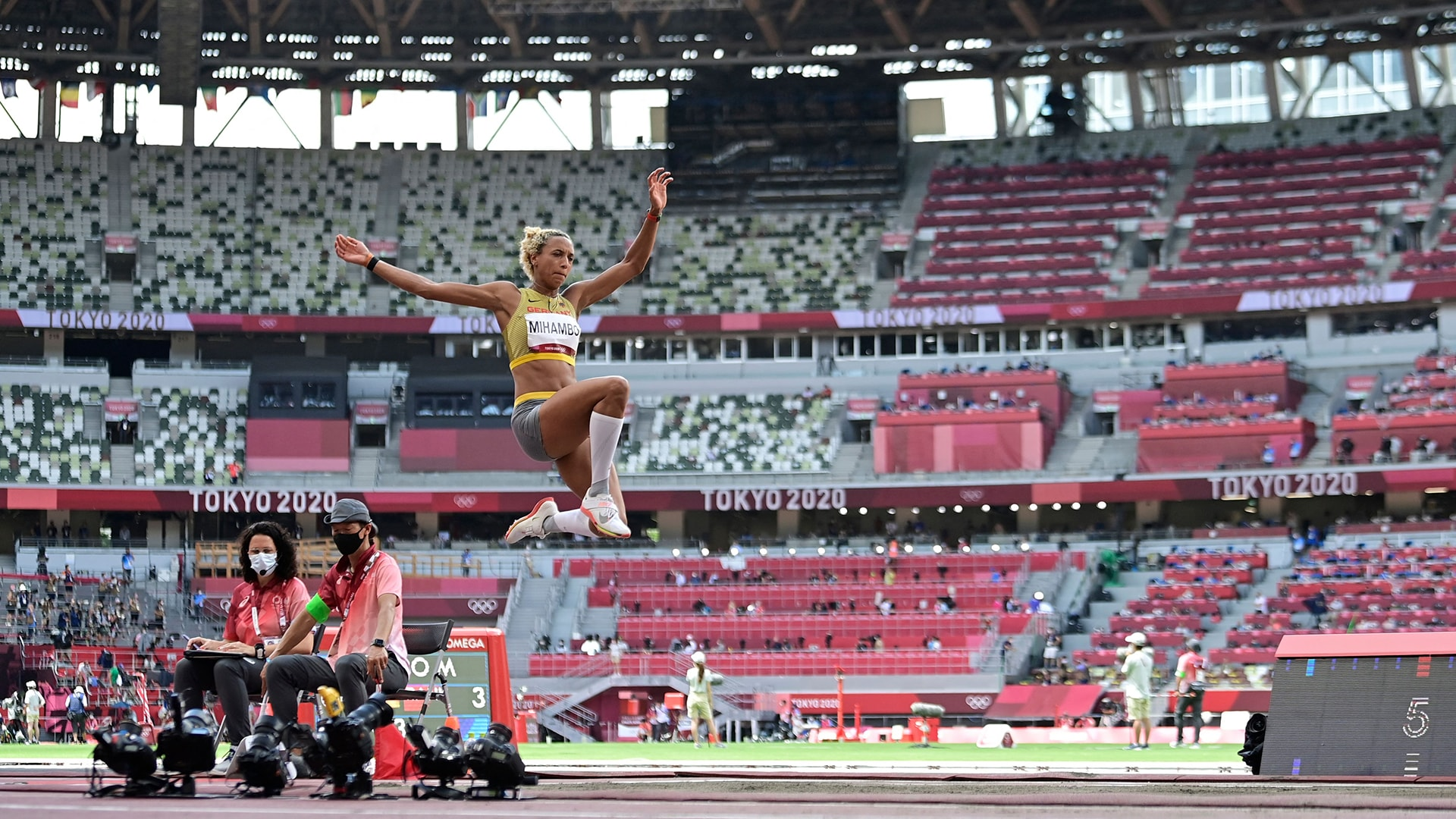 Image for Germany's Mihambo swipes women's long jump gold on final leap; USA's Reese takes silver