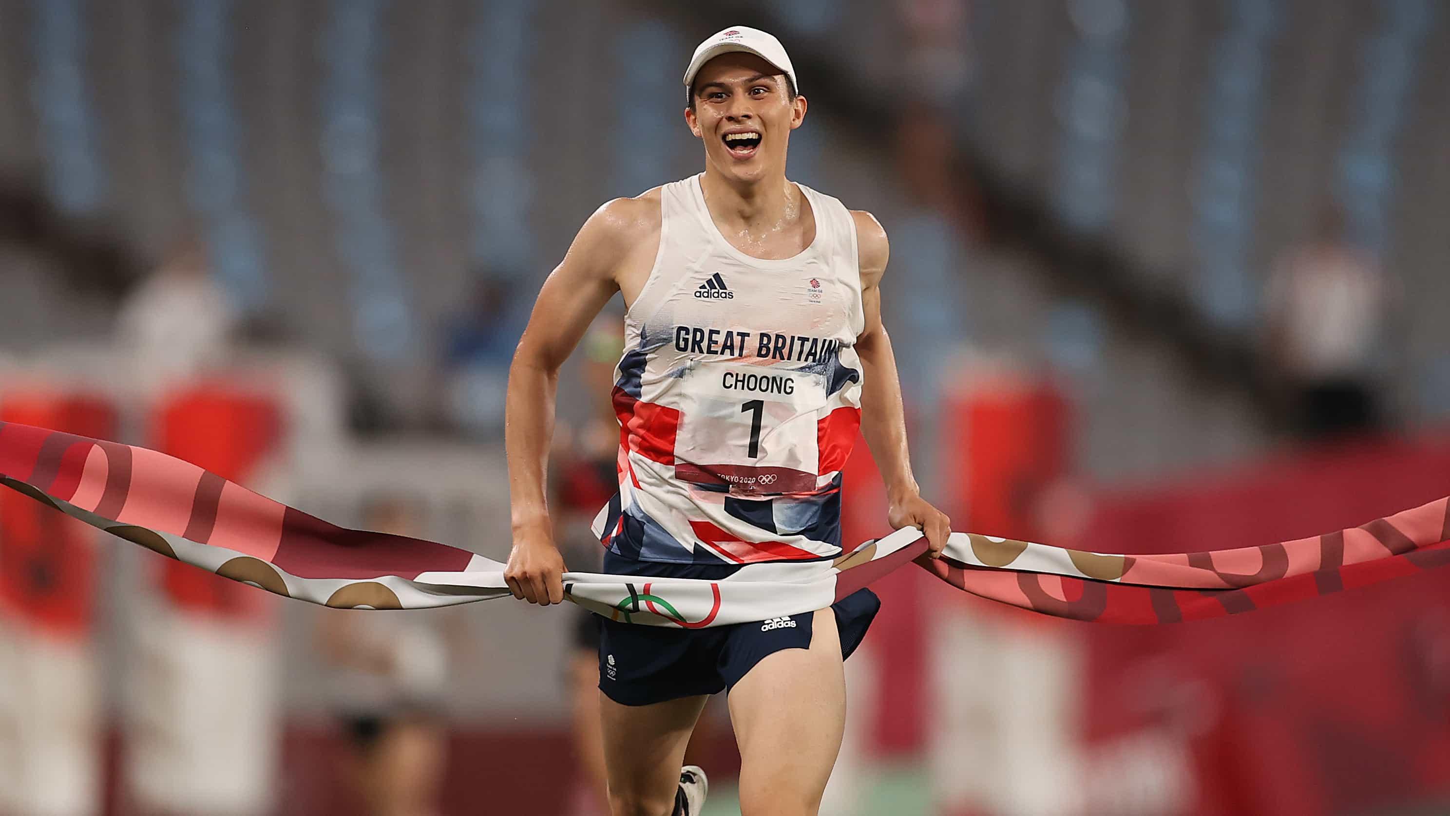 British pentathlete Joseph Choong celebrates as he crosses the finish line for gold. (credit:...