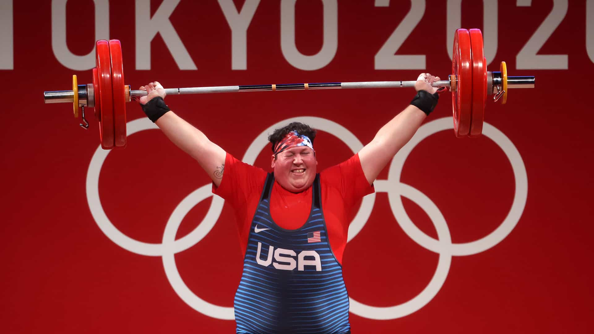 Sarah Robles lifts on her way to bronze Monday at the Tokyo Olympics. (credit: Chris Graythen,...